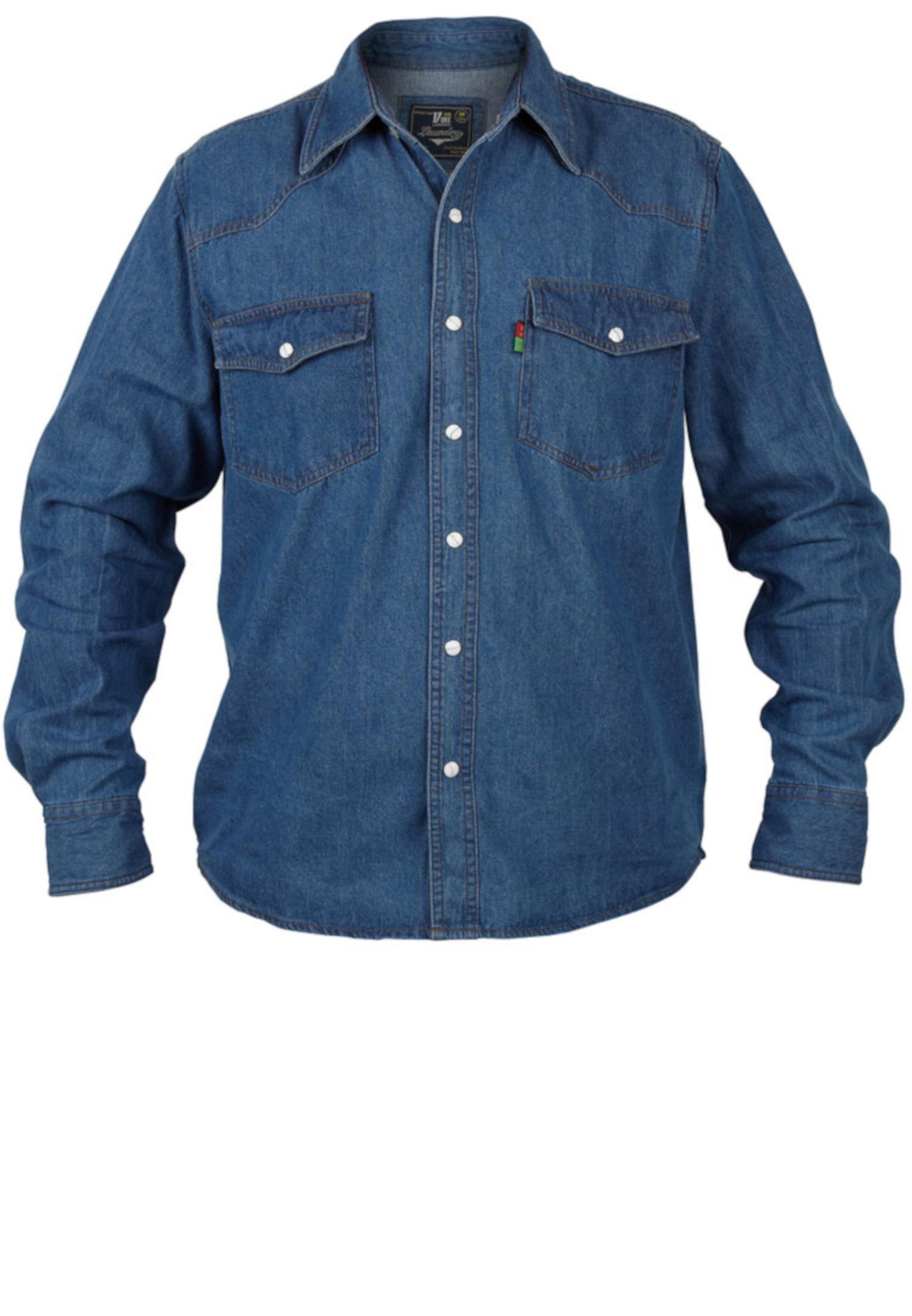Effen denim overhemd van Duke London in western style met een klassieke kraag, 2 met drukknoop afsluitbare borstzakken.