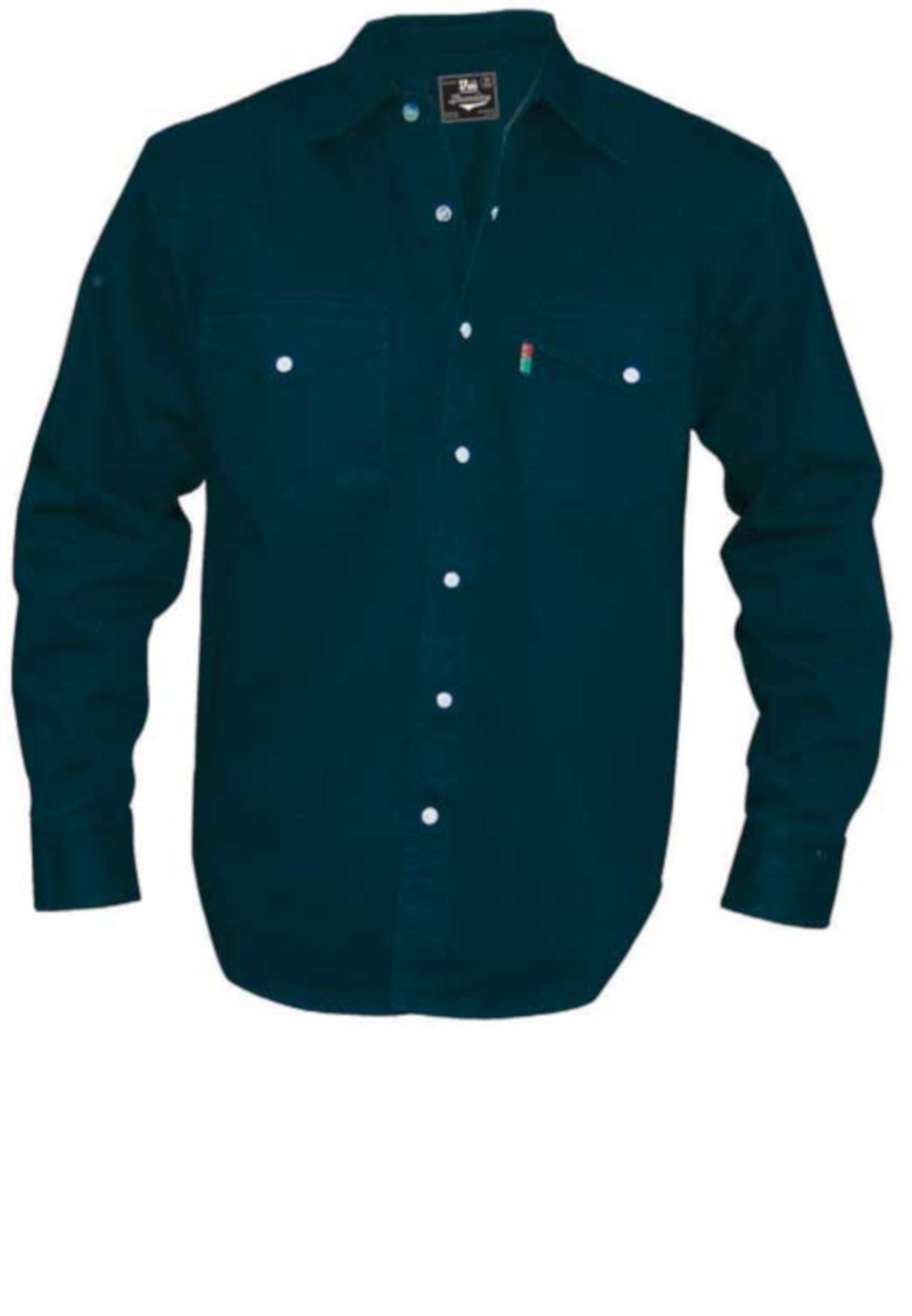 Zwart denim overhemd van Duke London in Western Style met een klassieke kraag, 2 met drukknoop afsluitbare borstzakken.