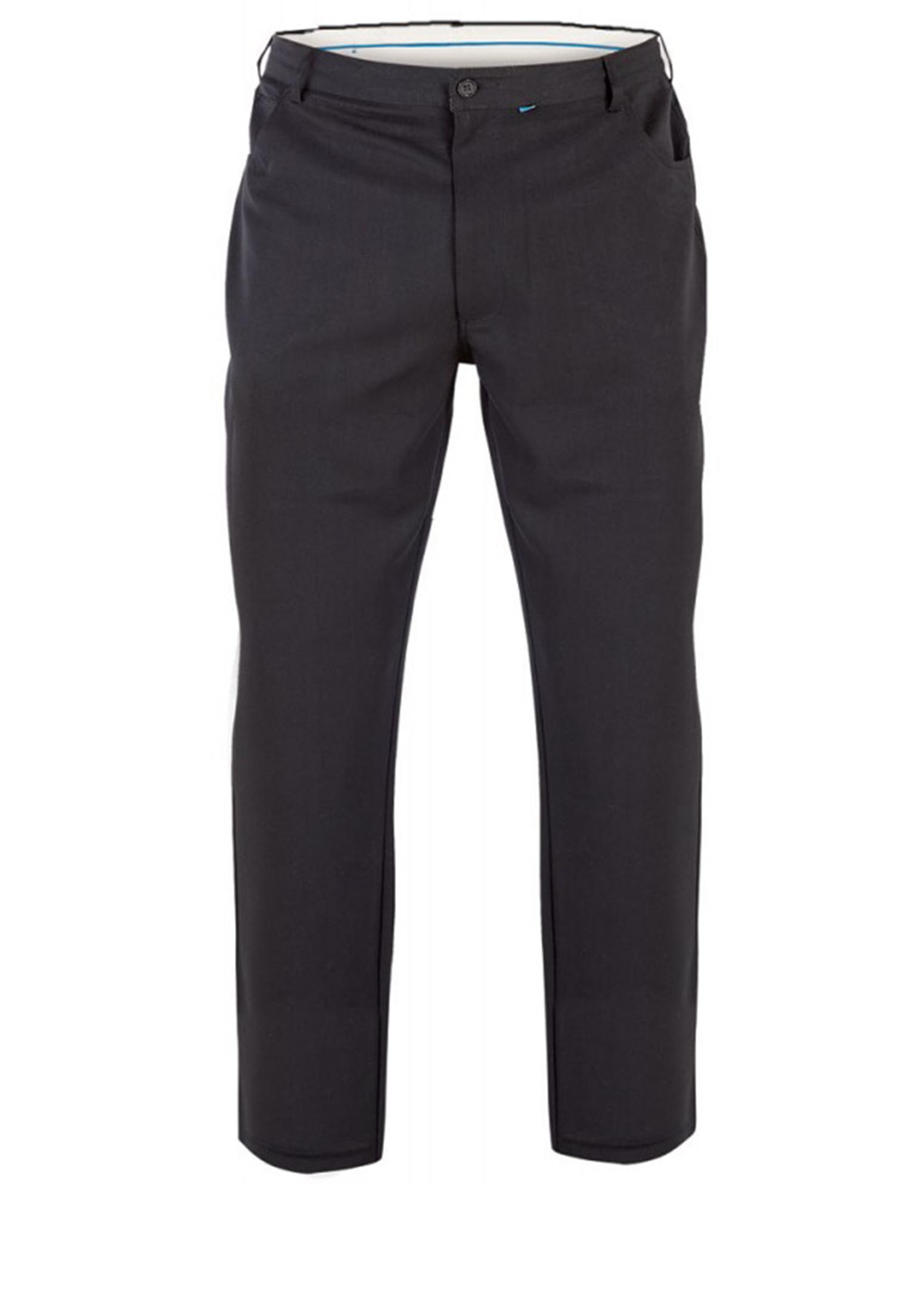 Pantalon met rits/knoopsluiting, 2 steekzakken en 1 muntzakje voor, 2 achterzakken, klein logo op de rechter achterzak. Beschikbare lengte: 34 Inch