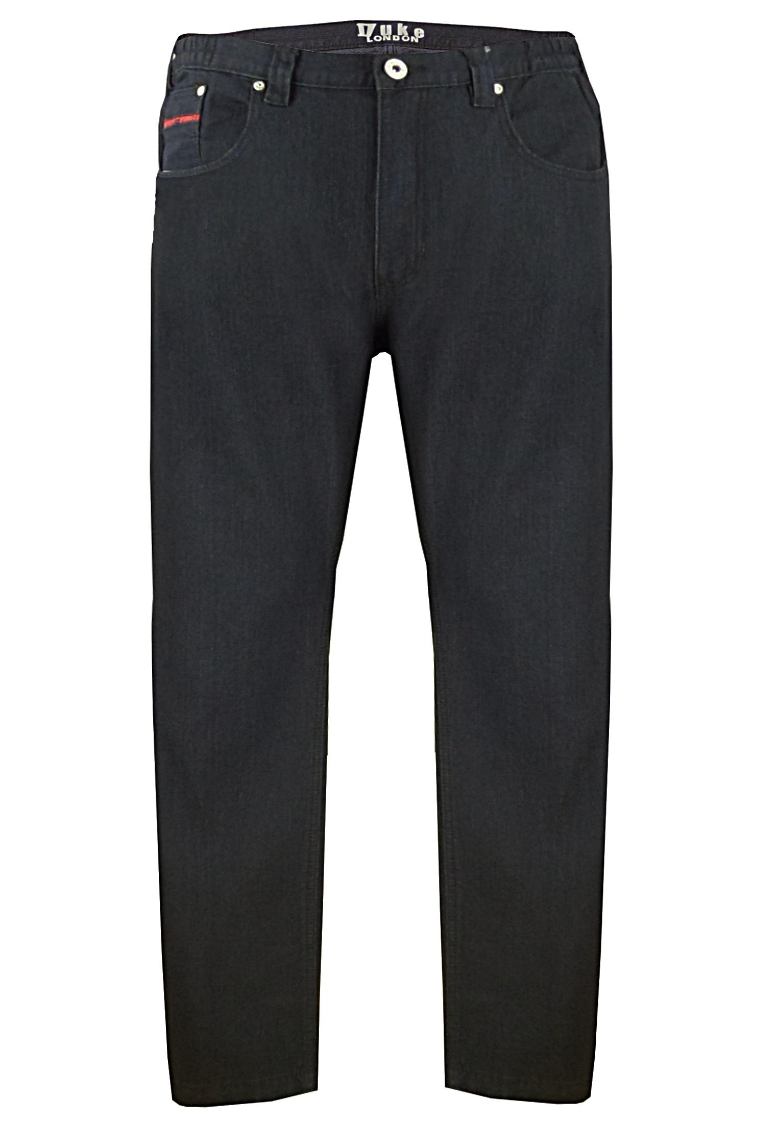 """Duke London Jeans """"Balfour"""" fantastisch Stretch Jeans met elastiek in de tailleband. 2 Steekzakken en een muntzakje met rood accent op de voorkant, 2 achterzakken met op de rechter zak een klein rood merklogo, leerlogo op de tailleband rechts achter."""