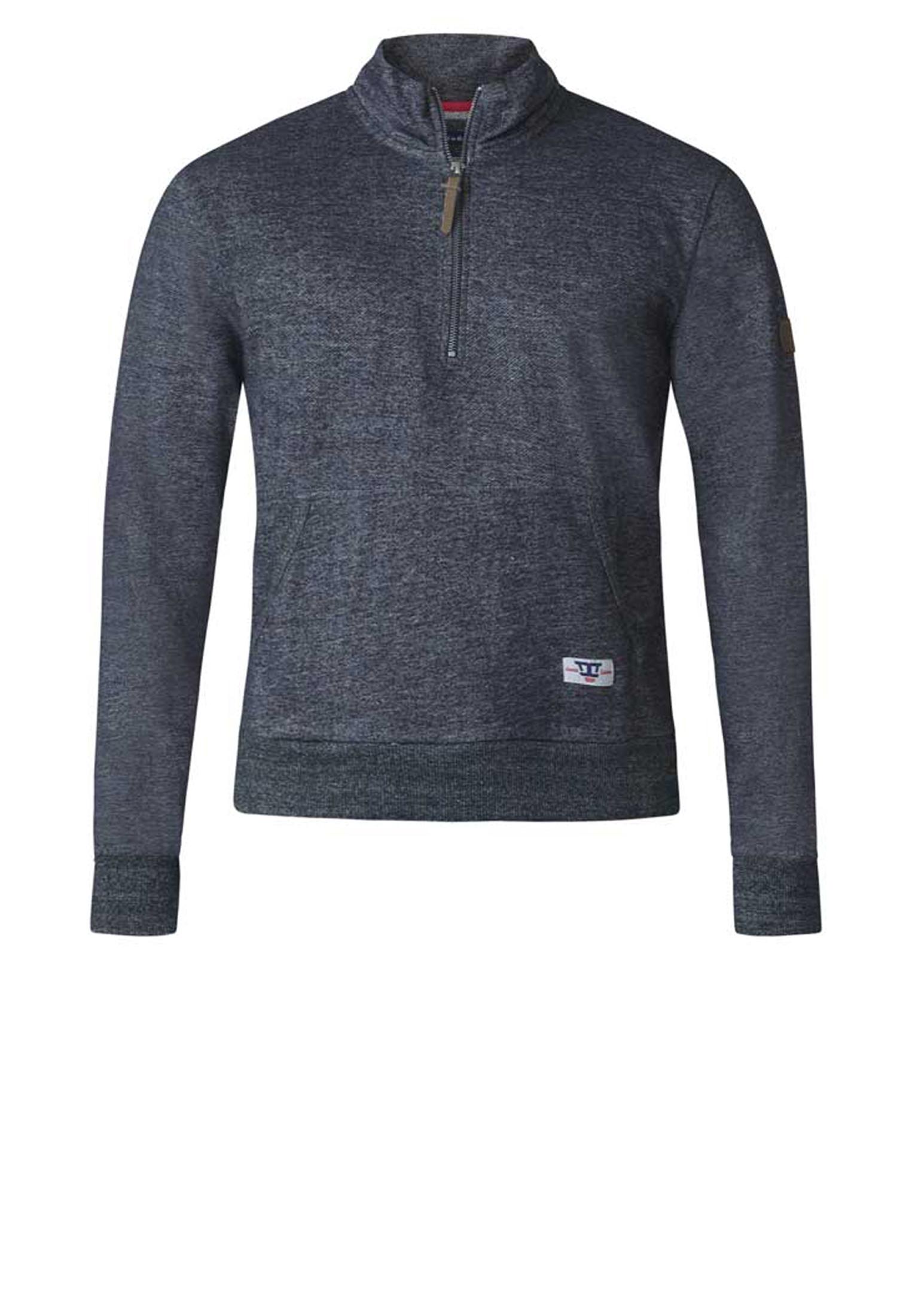 Sweatshirt met rits in de hals en een kangaroo zak.