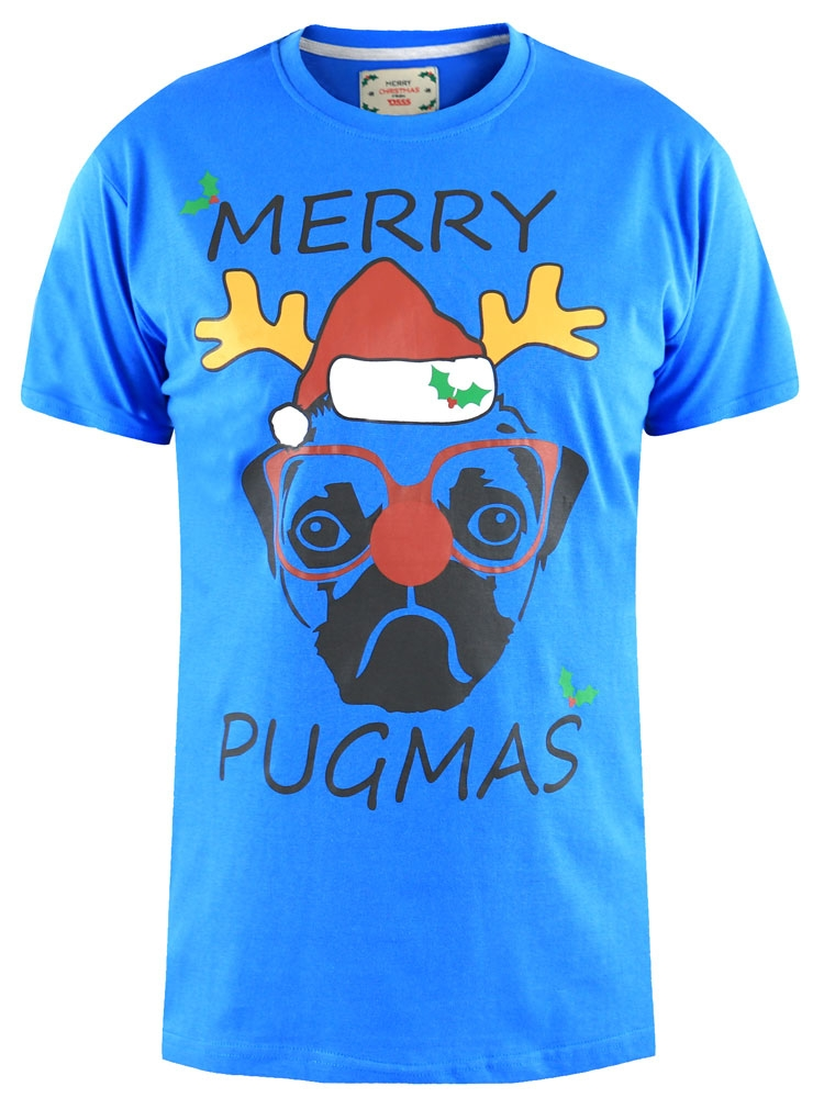 """Kerst T-shirt """"PUG"""" van D555, blauwe versie. 100% kartoen."""