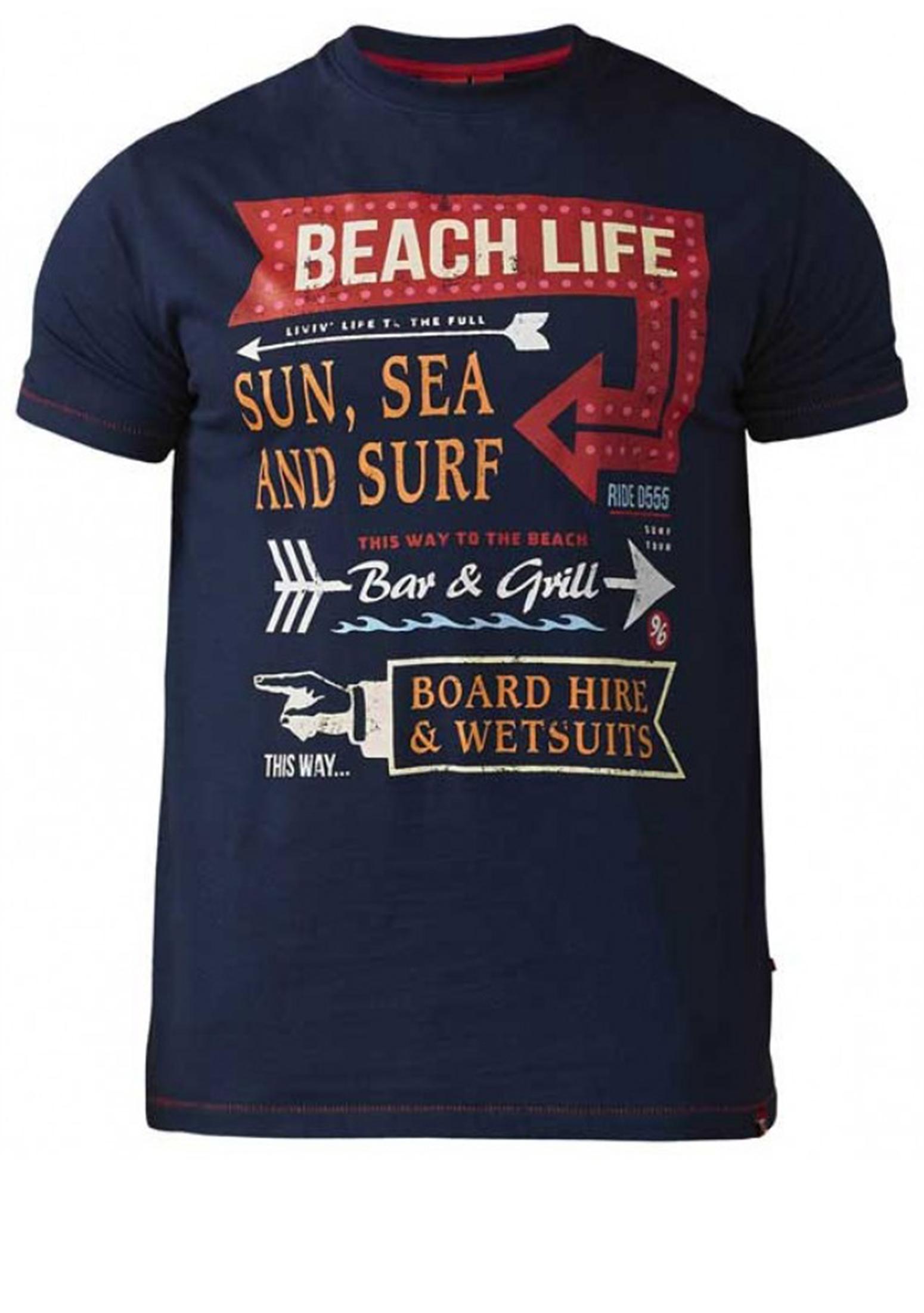 Een stijlvol, opvallend T-shirt van het merk D555. Dit T-shirt is gemaakt van 100% katoen en heeft opde voorkant een print. Ideaal te combineren met verschillende soorten spijker- en korte broeken en te bestellen in de maten 2 t/m wel 8XL! Bekijk hieronder in de maattabel welke maat het best bij je past!