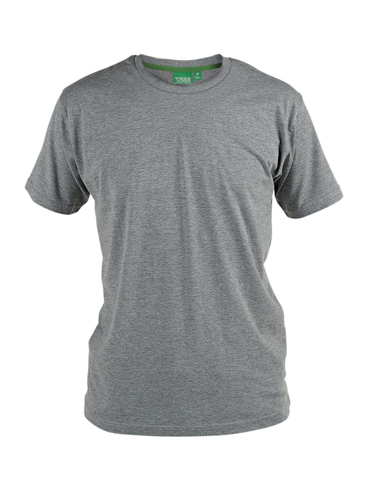 T-shirt Ronde Hals van merk D555 in de kleur grijs, gemaakt van poly-cotton