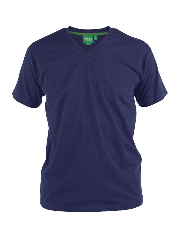 D555 T-shirt met V-hals in de kleur 'Navy', donkerblauw. Gemaakt van 100% katoen.