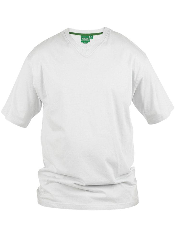 D555 T-shirt met V-hals in het wit, gemaakt van 100% katoen.