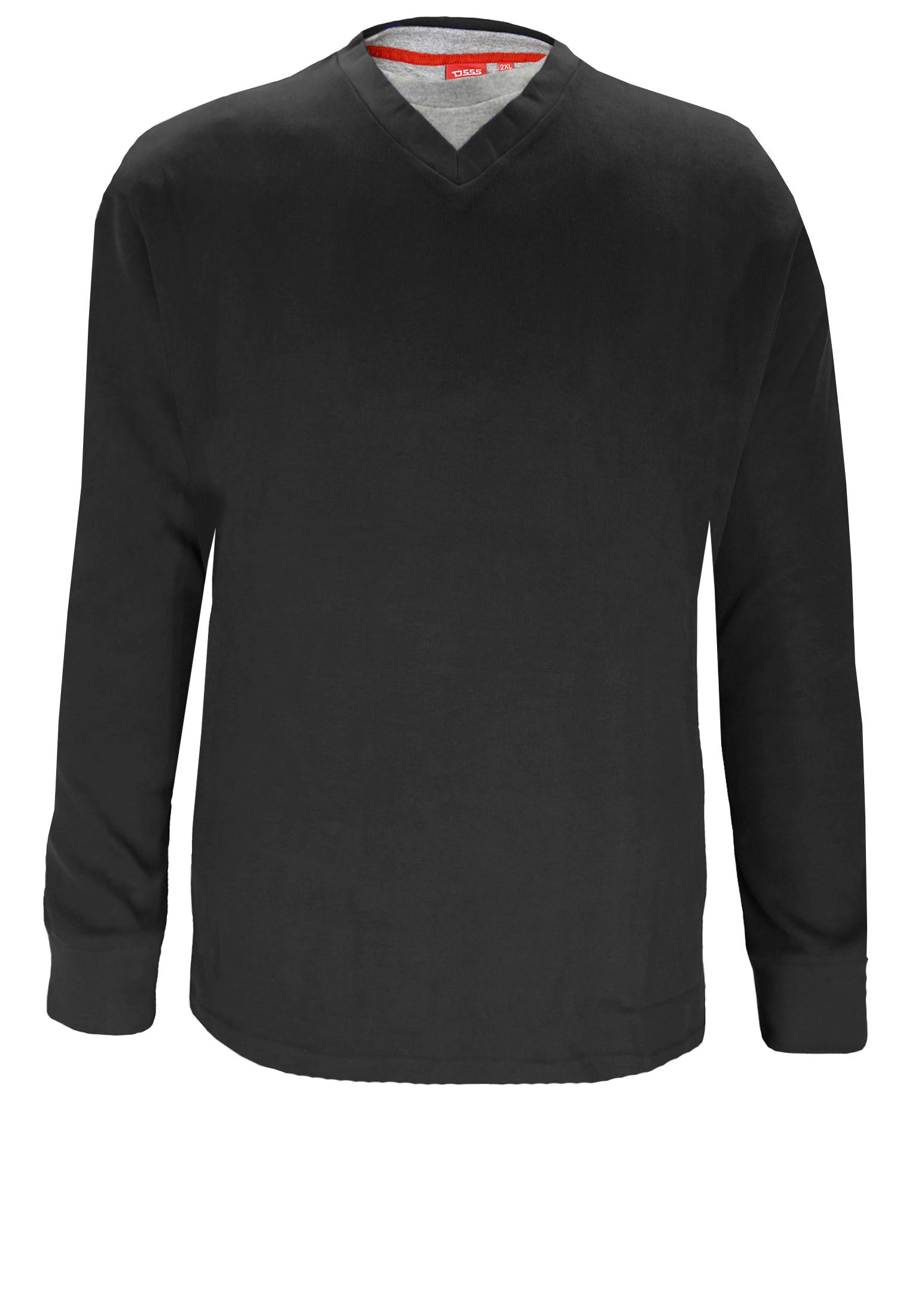 Effen trui van D555. Deze trui is gemaakt van elastische rib-breisel. Bij de V-hals is een grijze kraag ingenaaid met ronde hals, dit geeft de trui een leuk effect. Het is een niet al te dikke trui waardoor hij zowel met de minder koude dagen te dragen is en als het wat kouder is onder een vest te dragen is. Erg leuke trui om op een spijkerbroek te dragen.