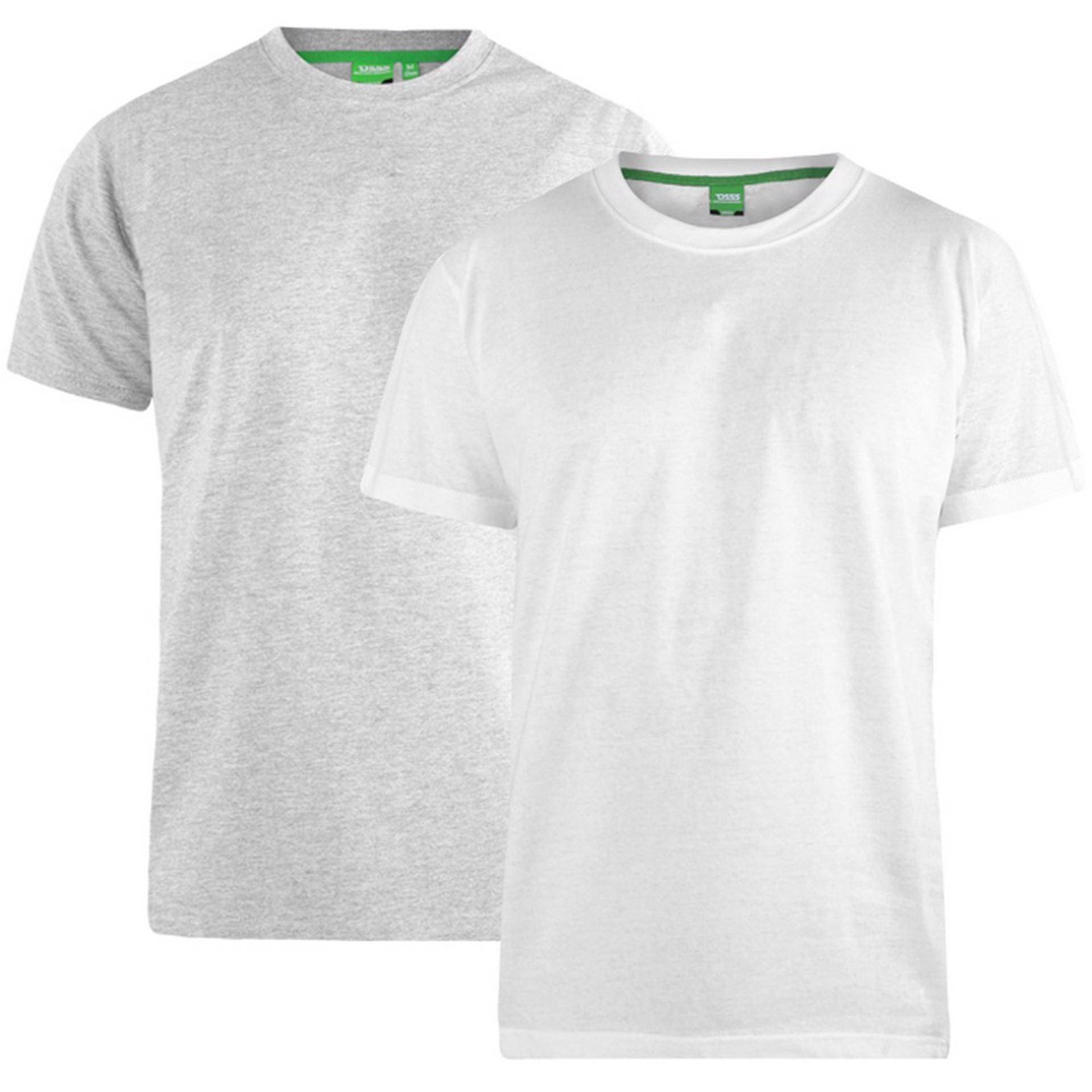 """2-pack T-shirts """"Fenton"""" van merk D555 in de kleuren wit en grijs, gemaakt van 100% katoen."""