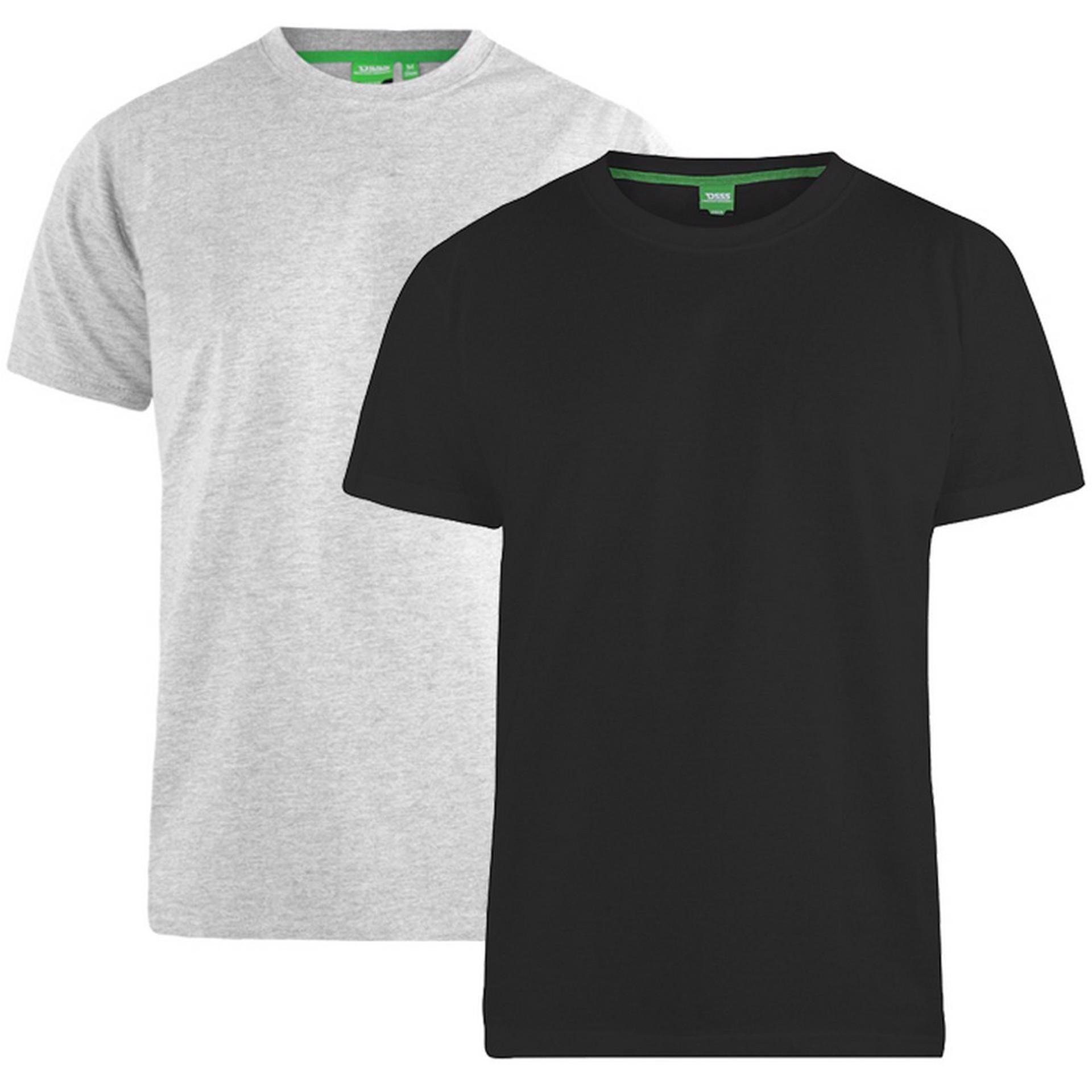 """2-pack T-shirts """"Fenton"""" van merk D555 in de kleuren zwart en grijs, gemaakt van 100% katoen."""