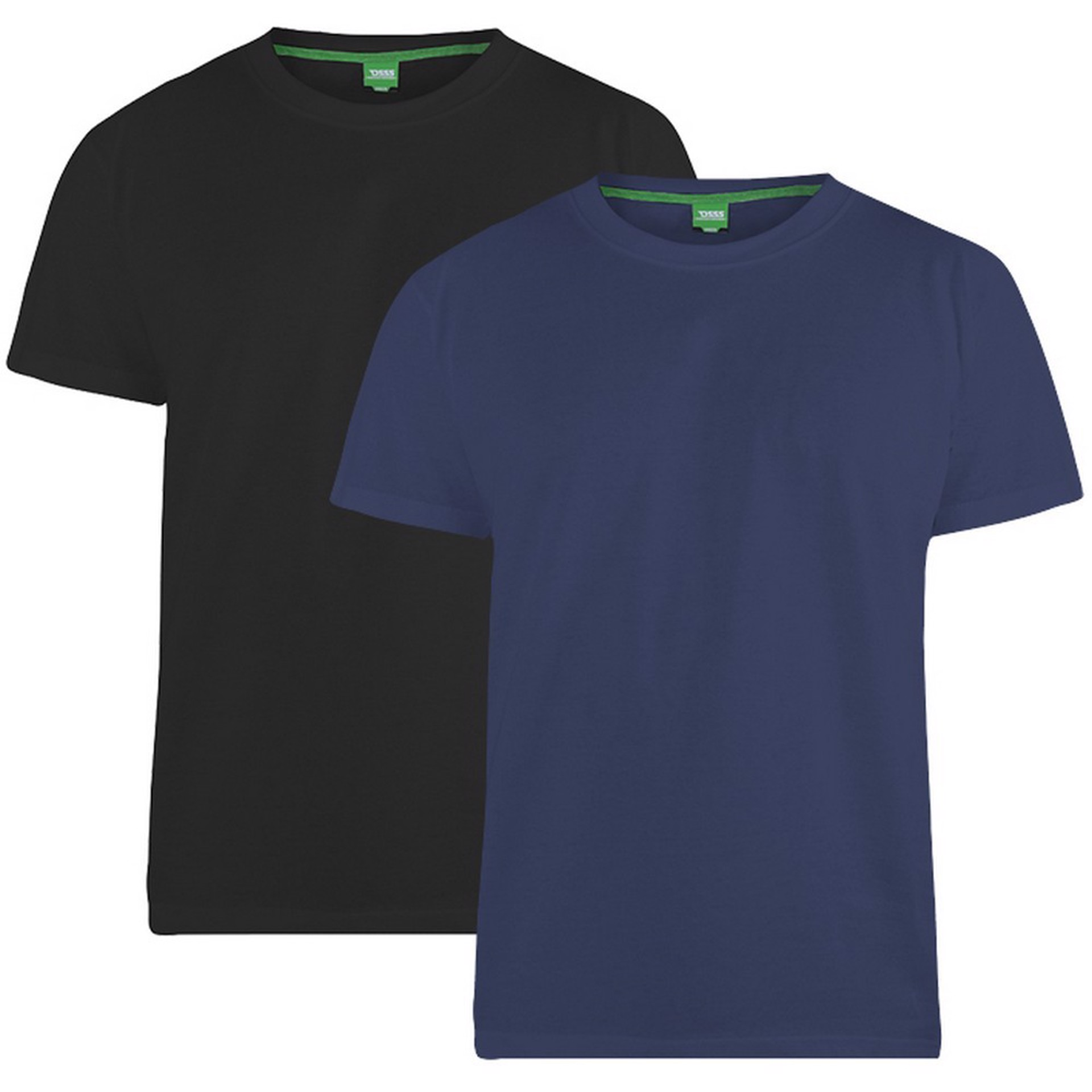 """2-pack T-shirts """"Fenton"""" van merk D555 in de kleuren zwart en navy, gemaakt van 100% katoen."""