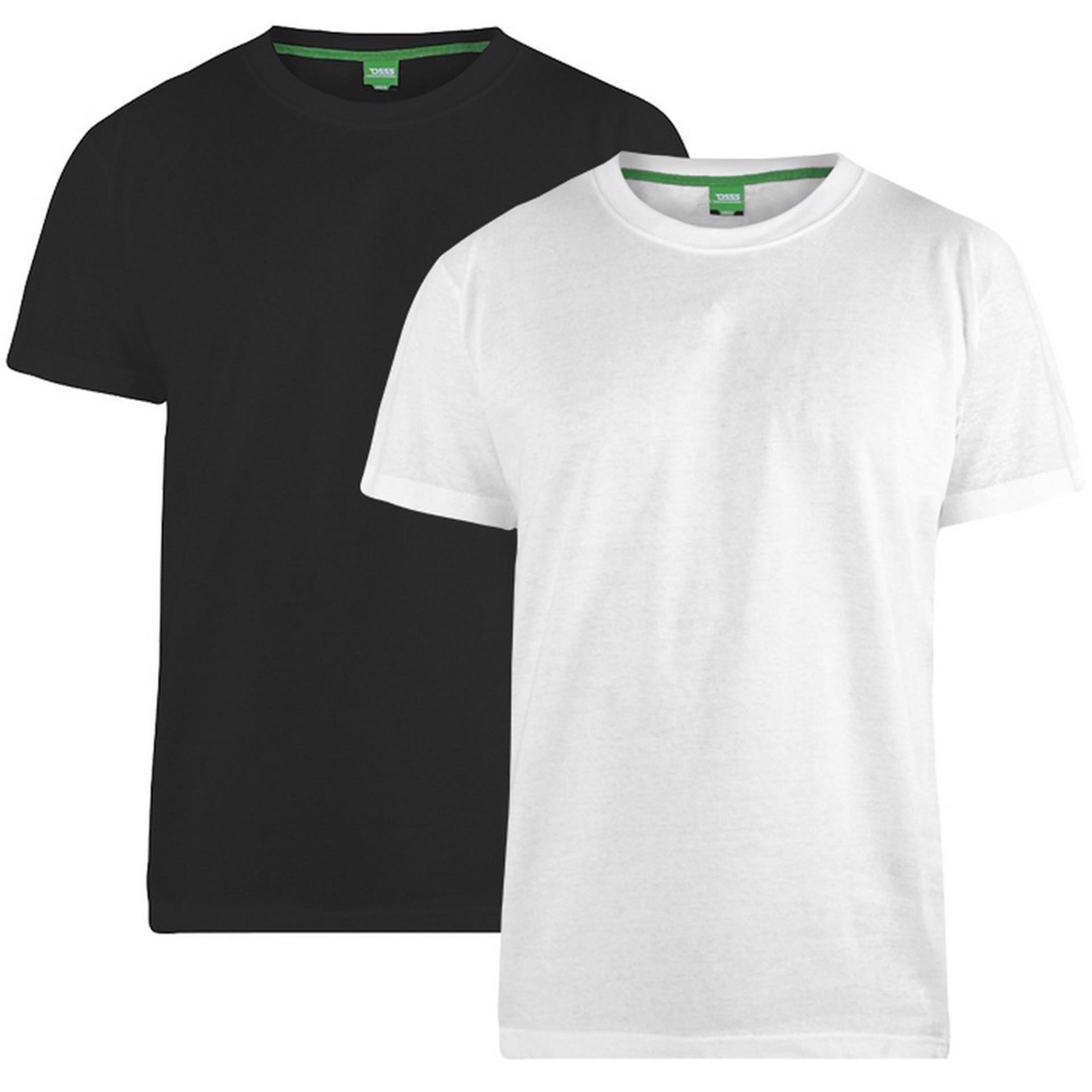 """2-pack T-shirts """"Fenton"""" van merk D555 in de kleuren zwart en wit, gemaakt van 100% katoen."""
