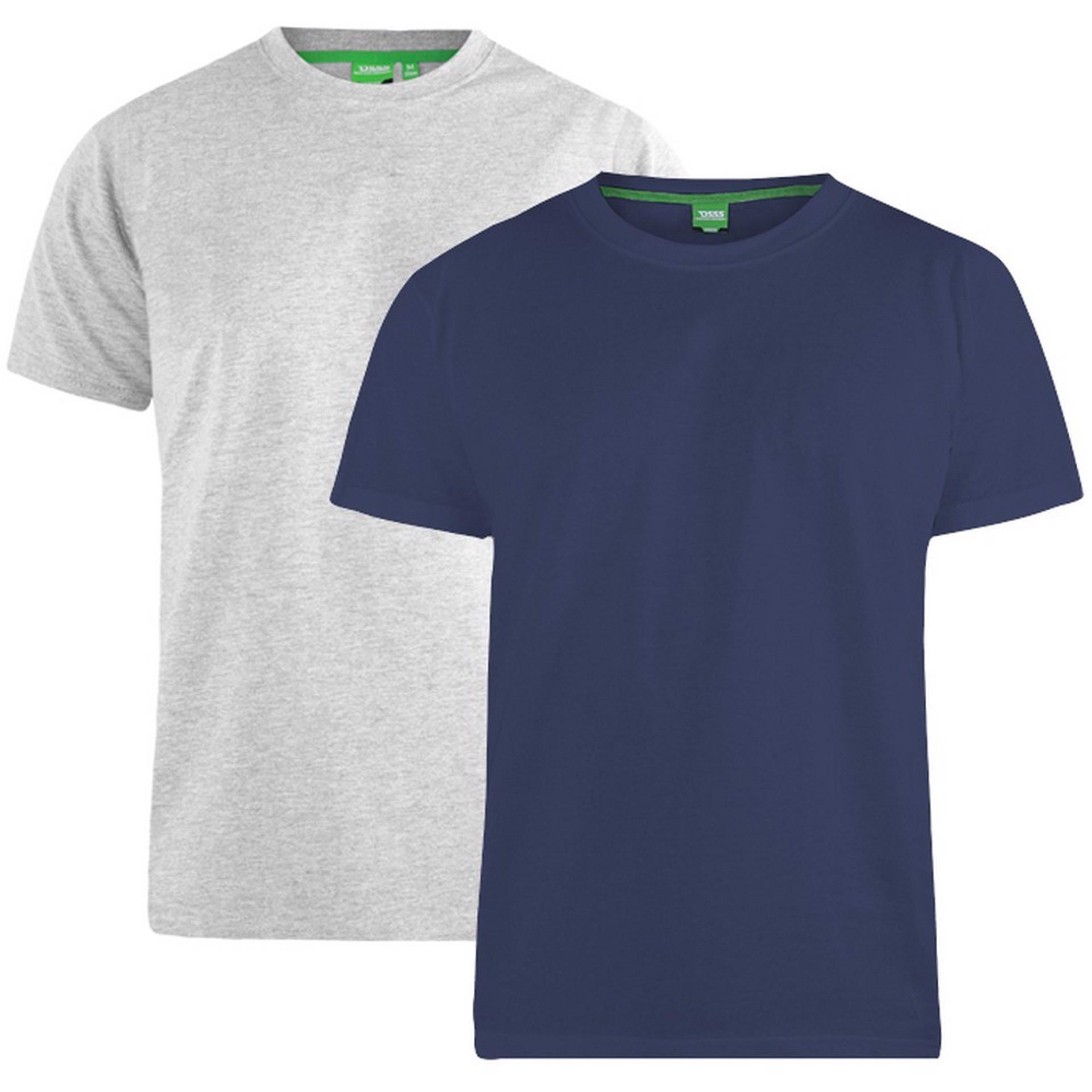 """2-pack T-shirts """"Fenton"""" van merk D555 in de kleuren grijs en navy, gemaakt van 100% katoen."""