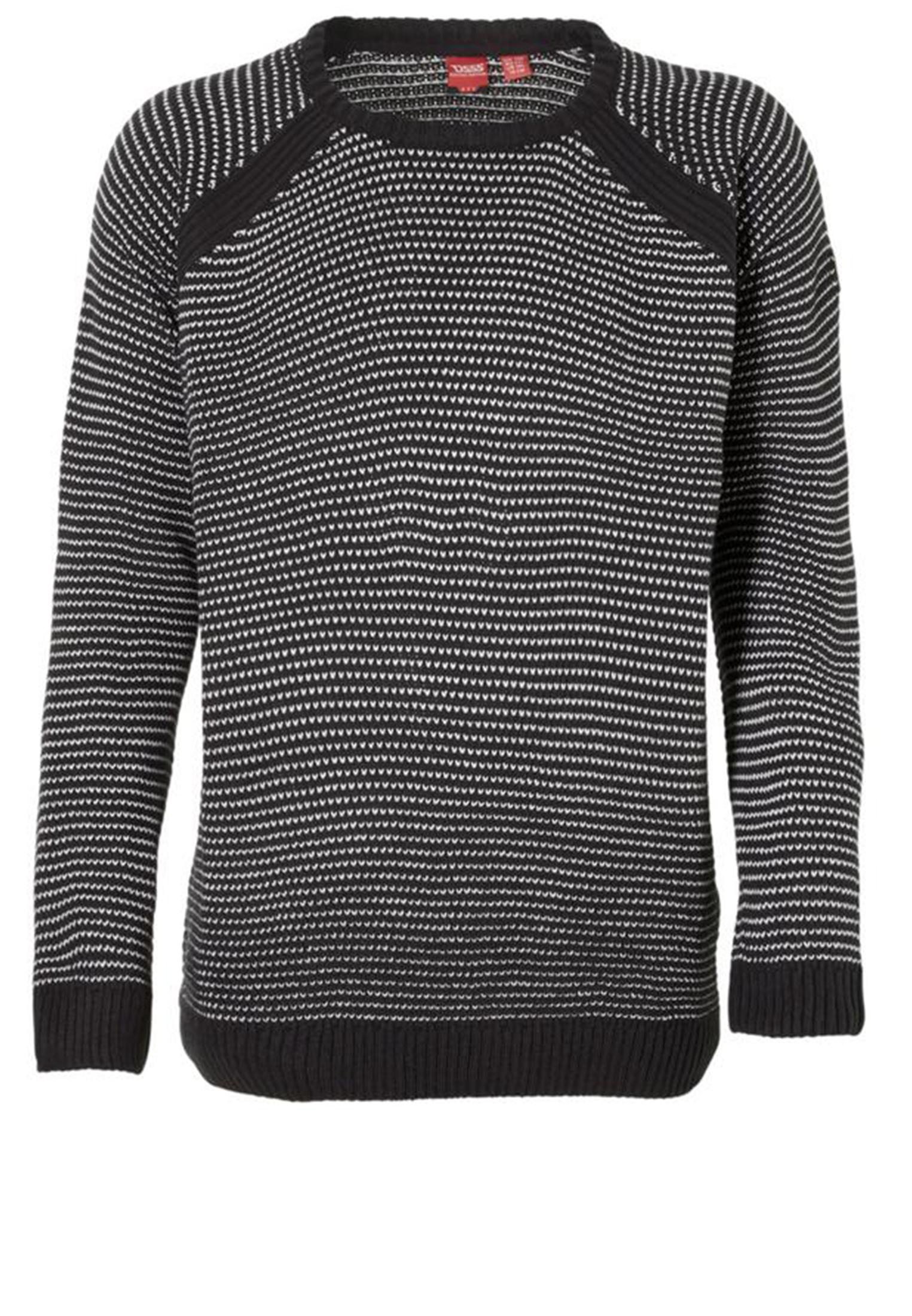 Gebreide trui van D555 met ronde hals. Leuke blauw gebreide trui met witte accenten. De mouwboorden en zoom zijn iets strakker gebreid voor een mooie pasvorm.