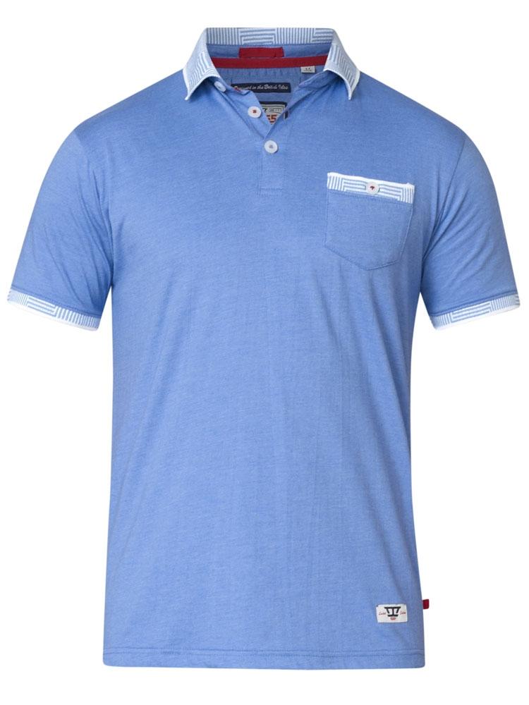 Polo George van merk D555 in de kleur blauw, gemaakt van 100% katoen.
