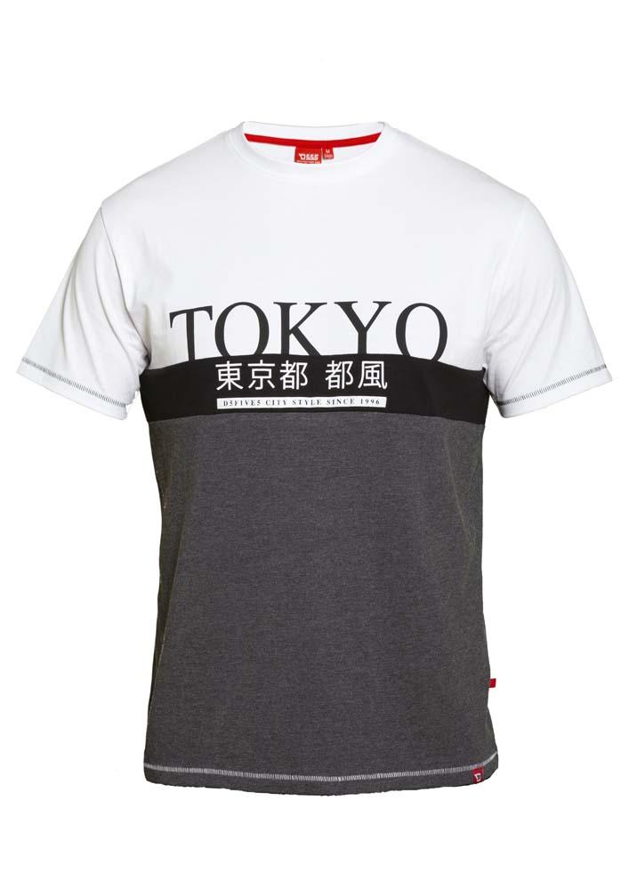 T-shirt Tokyo van merk D555 in de kleur wit-grijs, gemaakt van 100% katoen.