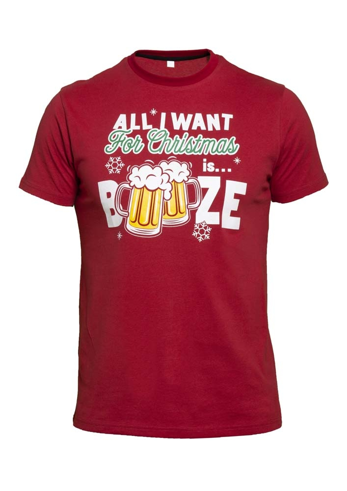 Kerst T-shirt rood met de tekst 'All I want for Christmas is Booze' van D555, 100% katoen.