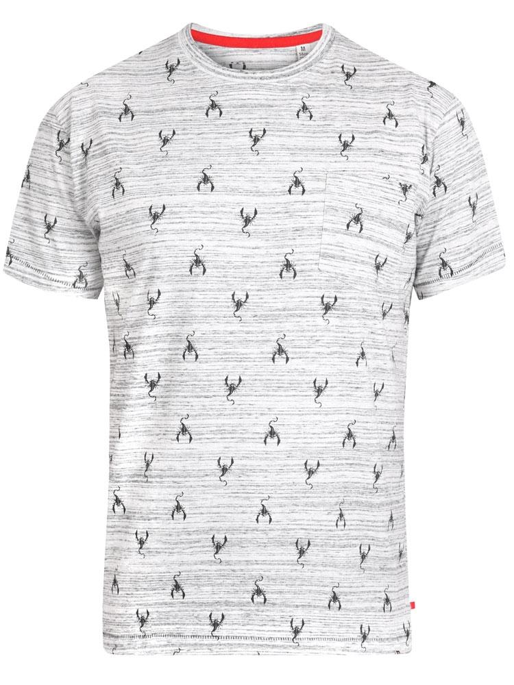 """T-Shirt """"Dario"""" van merk D555 in de kleur grey melange, gemaakt van cotton-poly. Met scorpioentjes print, borstzakje, superzachte stof."""