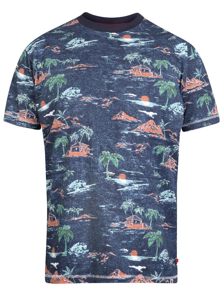 """T-Shirt """"Chester"""" van merk D555 in de kleur navy marl, gemaakt van cotton-poly."""