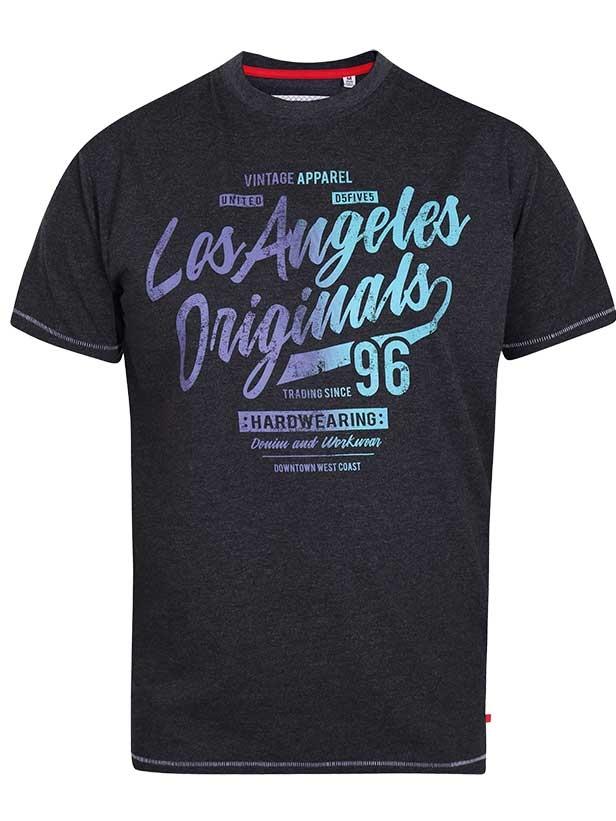 """T-Shirt """"Simmons"""" van merk D555 in de kleur black marl, gemaakt van poly-cotton"""
