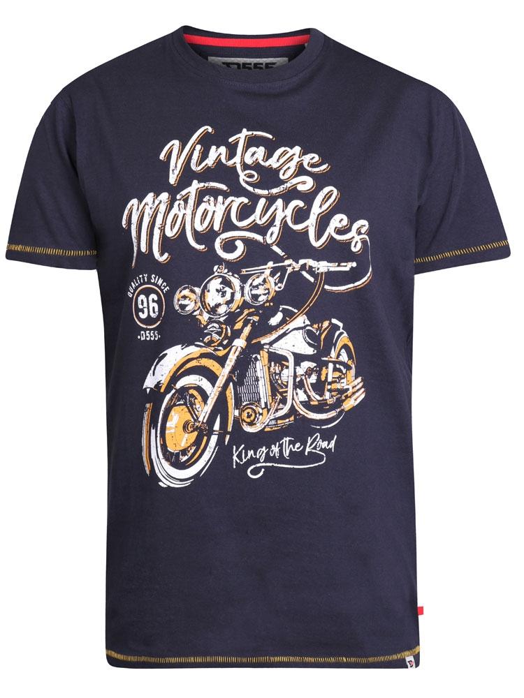 leuk T-shirt met grote print Vintage Motorcycles en extra contrast afwerking op mouwen en taille