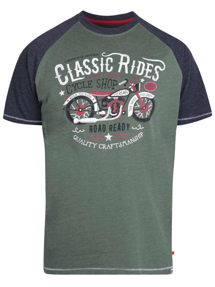 T-Shirt van D555 met Classic Ride print en contrast kleuren in de mouwen