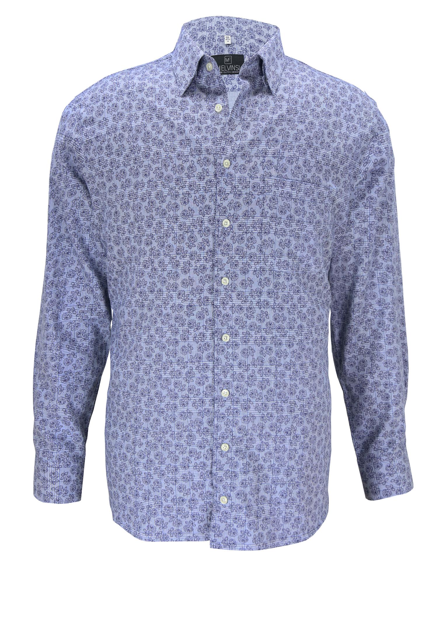 Grote maten herenoverhemd met lange mouwen van Melvinsi met bloemen print. Het overhemd heeft een button under kraag, dubbele knoopsluiting aan de manchetten en een open borstzakje op de linker borst. Het overhemd is rond afgezoomd. Erg leuk overhemd om casual te dragen.
