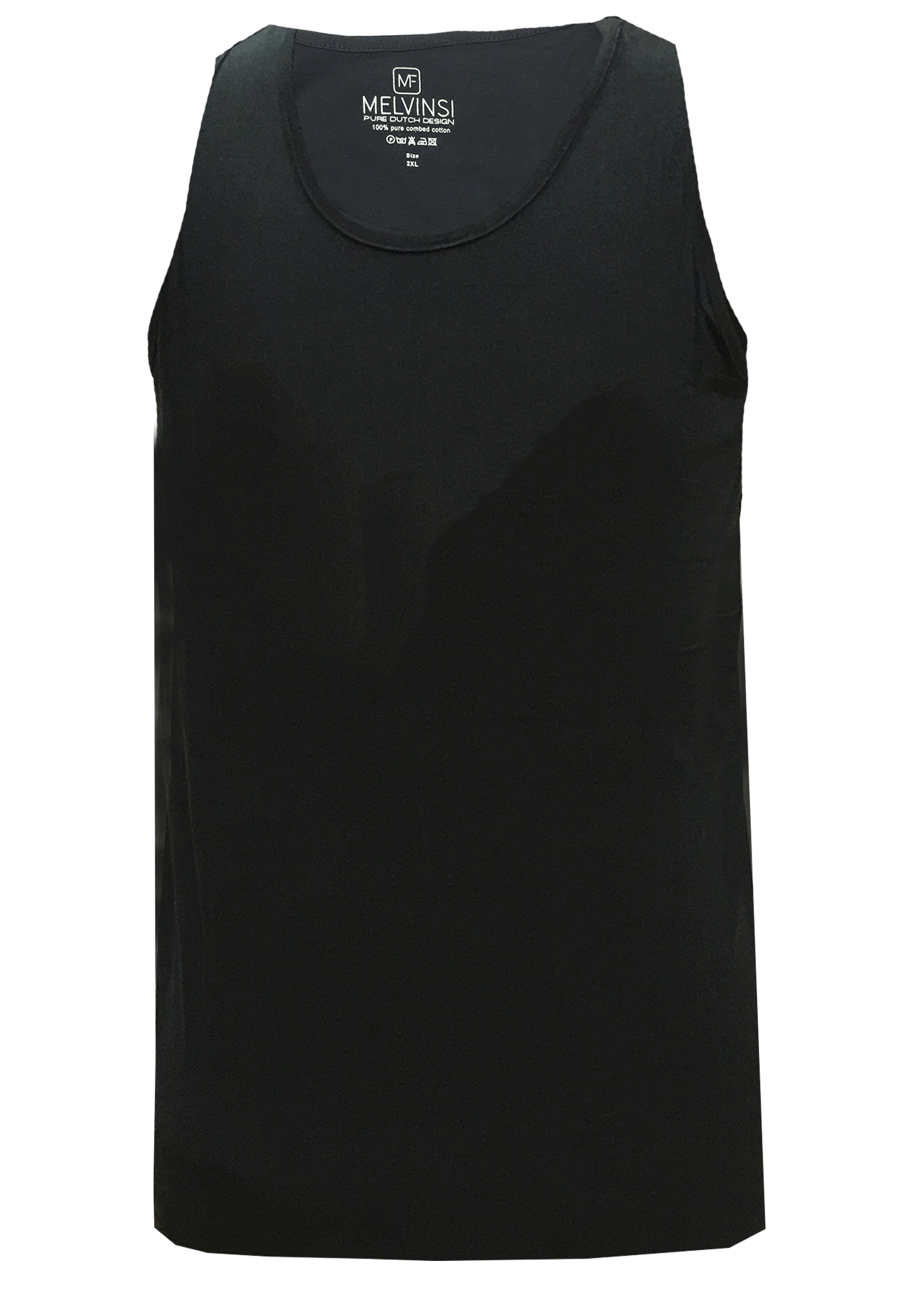 Basic effen tanktop van Melvinsi uitgevoerd in het zwart met ronde hals. Zeer multifunctionele tanktop om te dragen, bijvoorbeeld onder overhemden, T-shirts en truien maar ook ideaal te dragen met de warme dagen, als loungewear of als pyjama shirt.