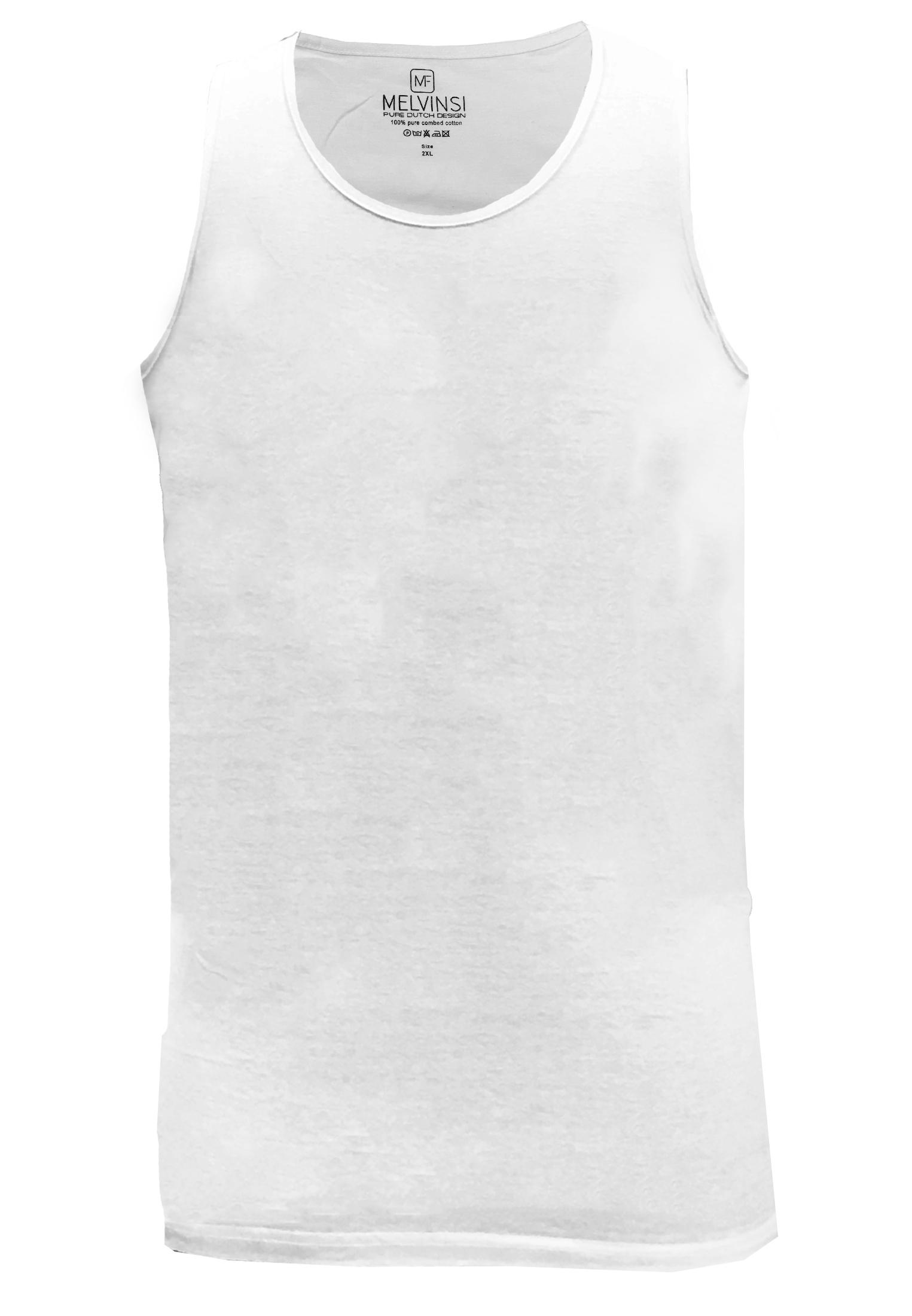 Basic effen tanktop van Melvinsi uitgevoerd in het wit met ronde hals. Zeer multifunctionele tanktop om te dragen, bijvoorbeeld onder overhemden, T-shirts en truien maar ook ideaal te dragen met de warme dagen, als loungewear of als pyjama shirt.