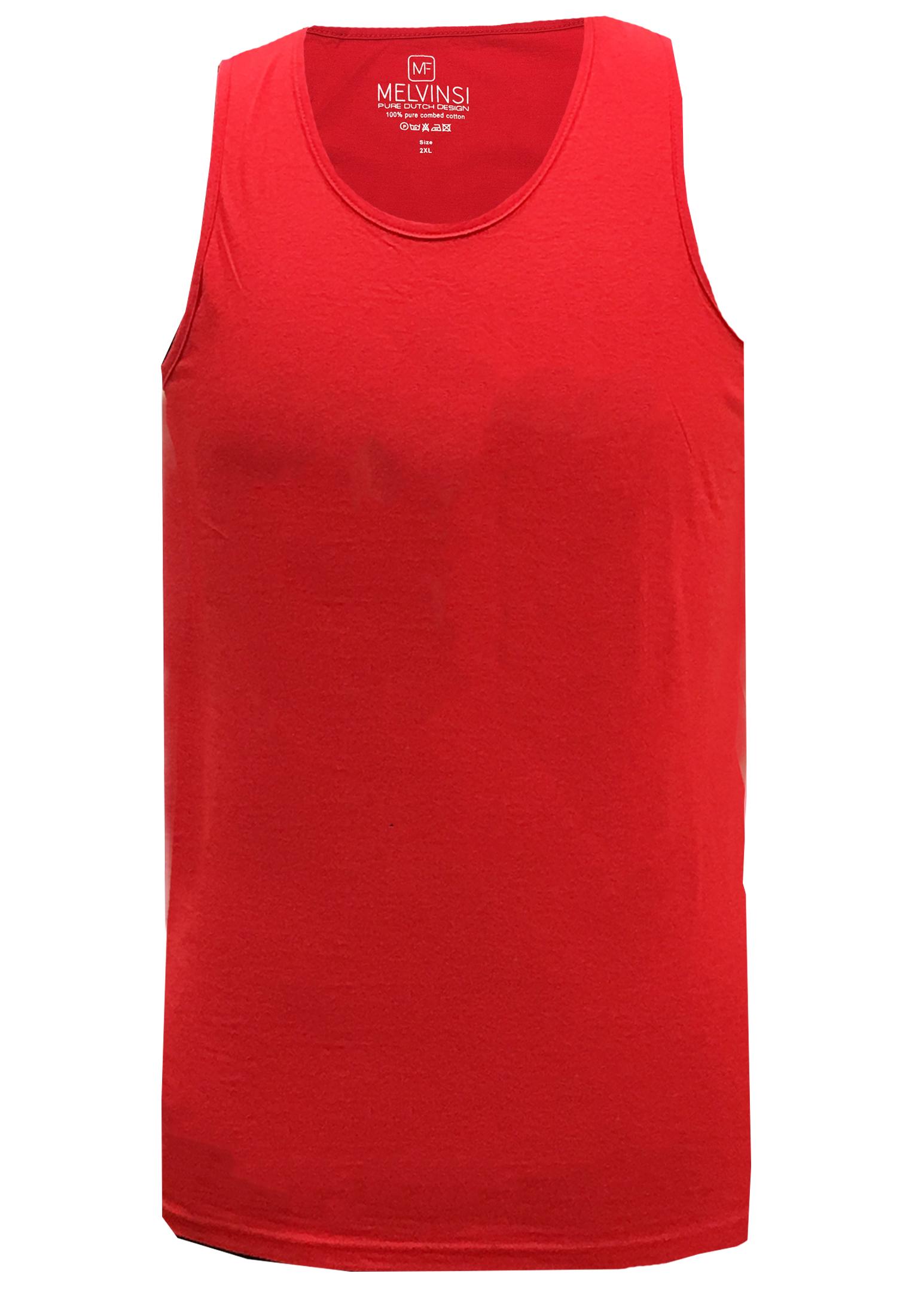 Basic effen tanktop van Melvinsi uitgevoerd in het rood met ronde hals. Zeer multifunctionele tanktop om te dragen, bijvoorbeeld onder overhemden, T-shirts en truien maar ook ideaal te dragen met de warme dagen, als loungewear of als pyjama shirt.
