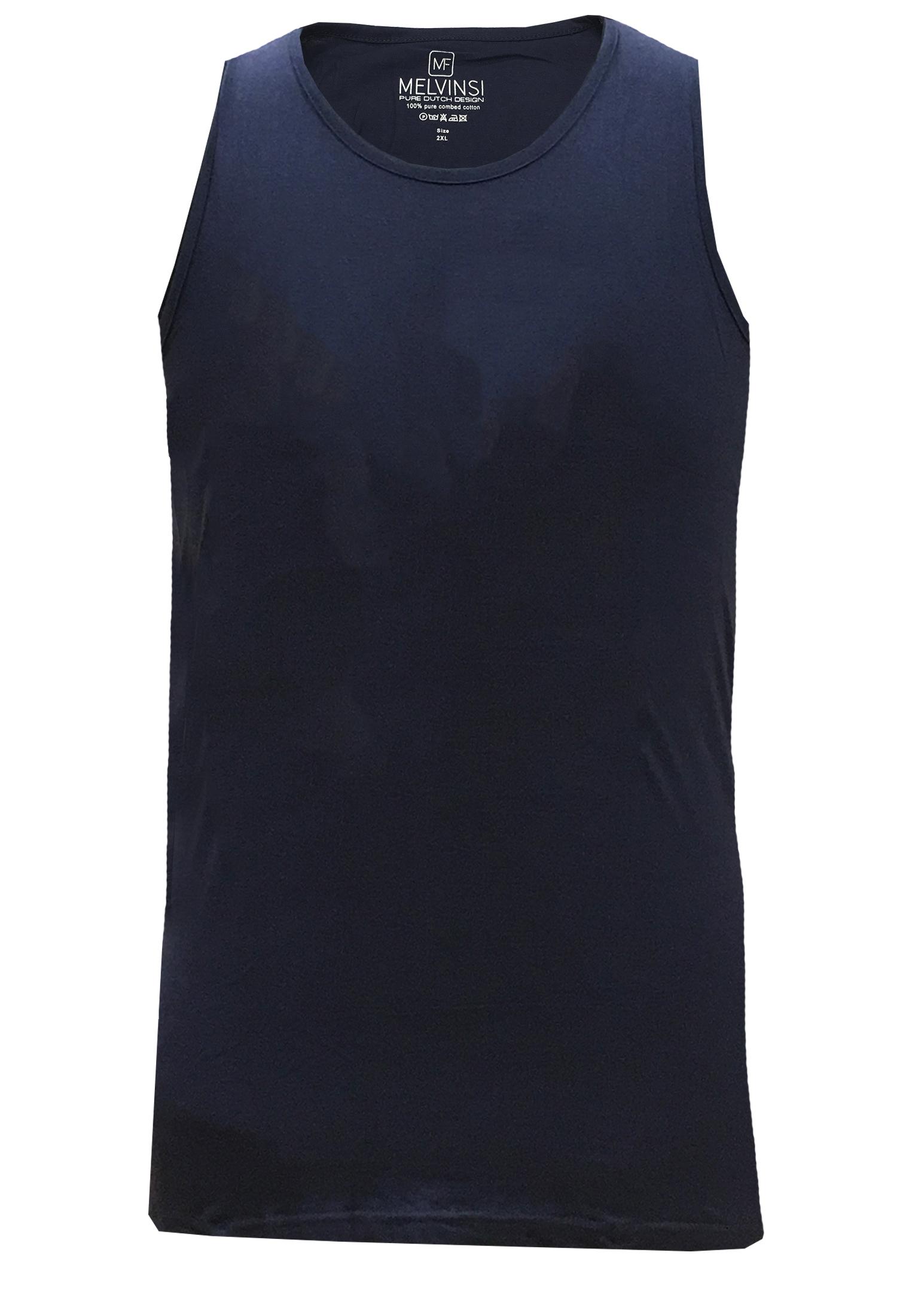 Basic effen tanktop van Melvinsi uitgevoerd in het donkerblauw met ronde hals. Zeer multifunctionele tanktop om te dragen, bijvoorbeeld onder overhemden, T-shirts en truien maar ook ideaal te dragen met de warme dagen, als loungewear of als pyjama shirt.