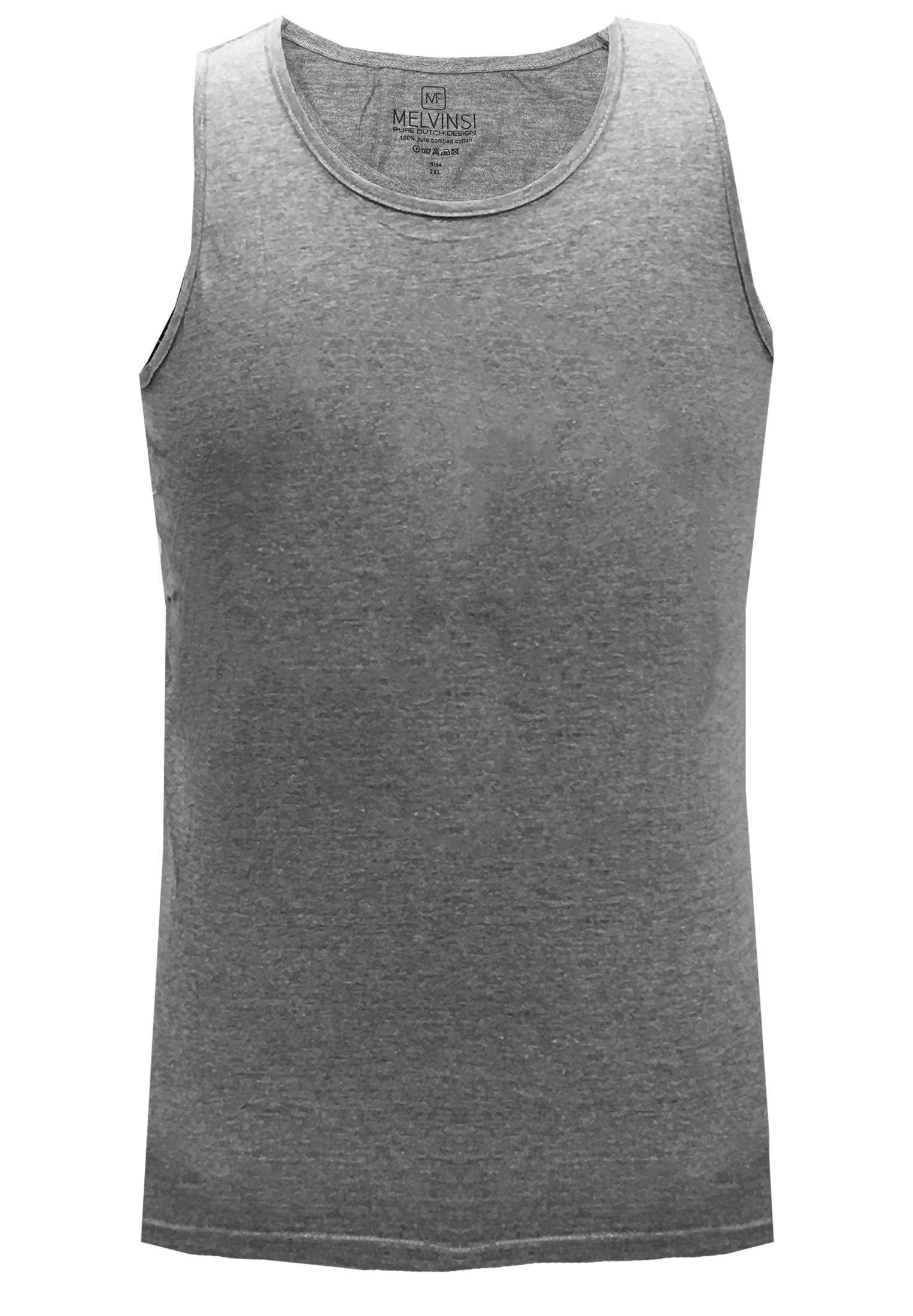 Basic effen tanktop van Melvinsi uitgevoerd in het grijs met ronde hals. Zeer multifunctionele tanktop om te dragen, bijvoorbeeld onder overhemden, T-shirts en truien maar ook ideaal te dragen met de warme dagen, als loungewear of als pyjama shirt.