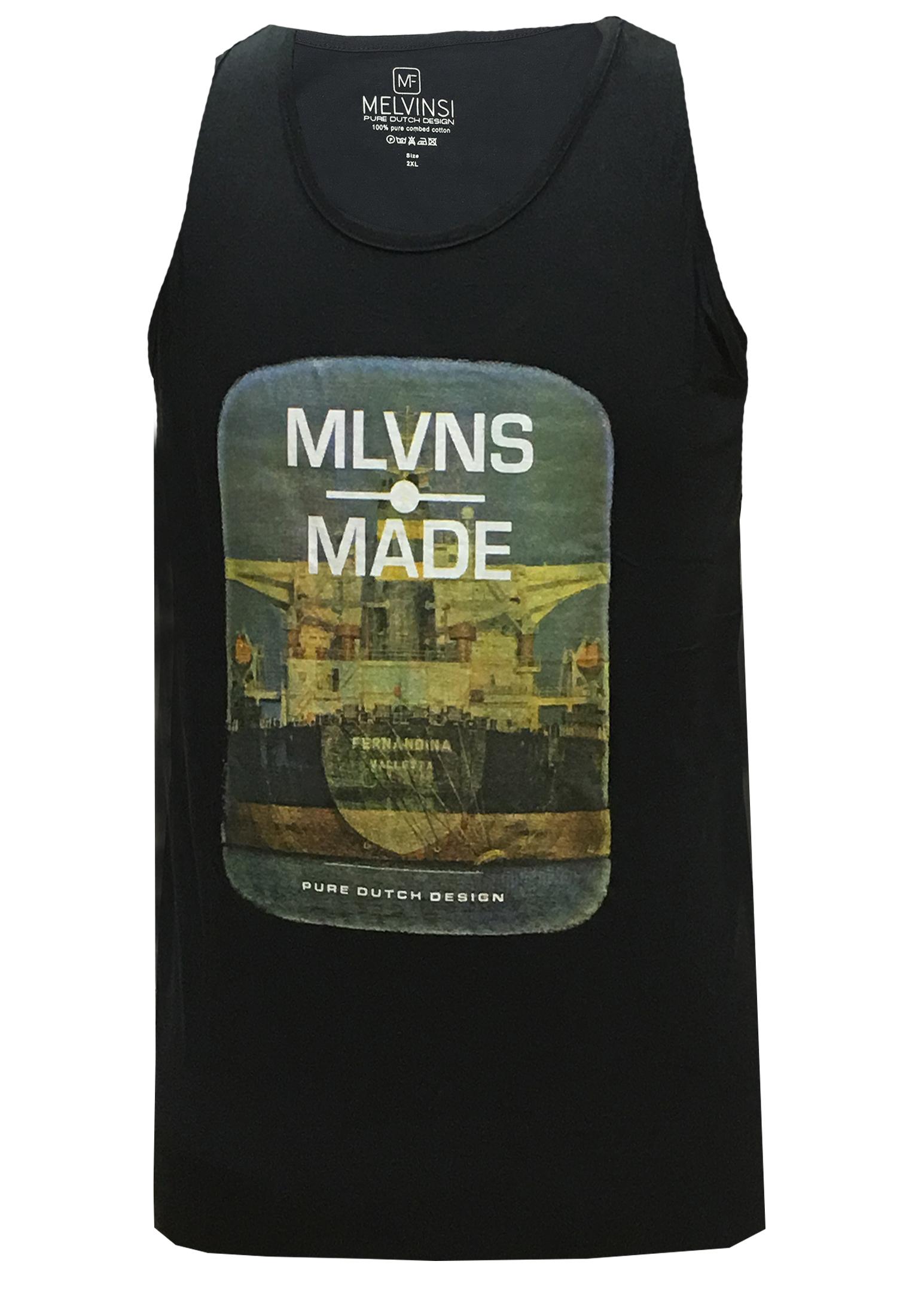 Zwarte tanktop van Melvinsi met mooie print en ronde hals. Zeer multifunctionele tanktop om te dragen, staat leuk op een spijkerbroek of op een joggingbroek als loungewear. Ideaal op de warme dagen of als het iets minder warm is onder een vest.