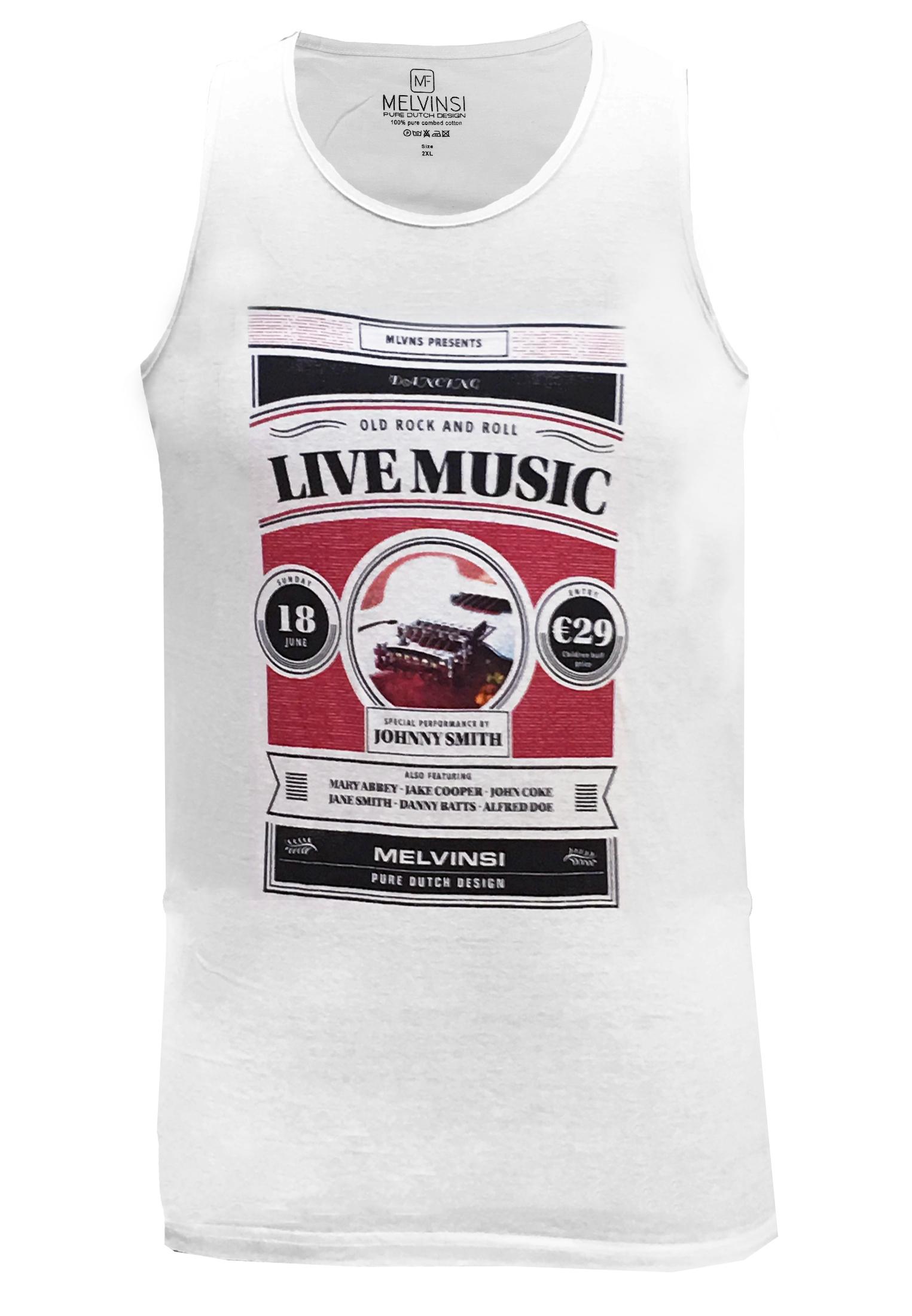 Witte tanktop van Melvinsi met leuke print en ronde hals. Zeer multifunctionele tanktop om te dragen, staat leuk op een spijkerbroek of op een joggingbroek als loungewear. Ideaal op de warme dagen of als het iets minder warm is onder een vest.