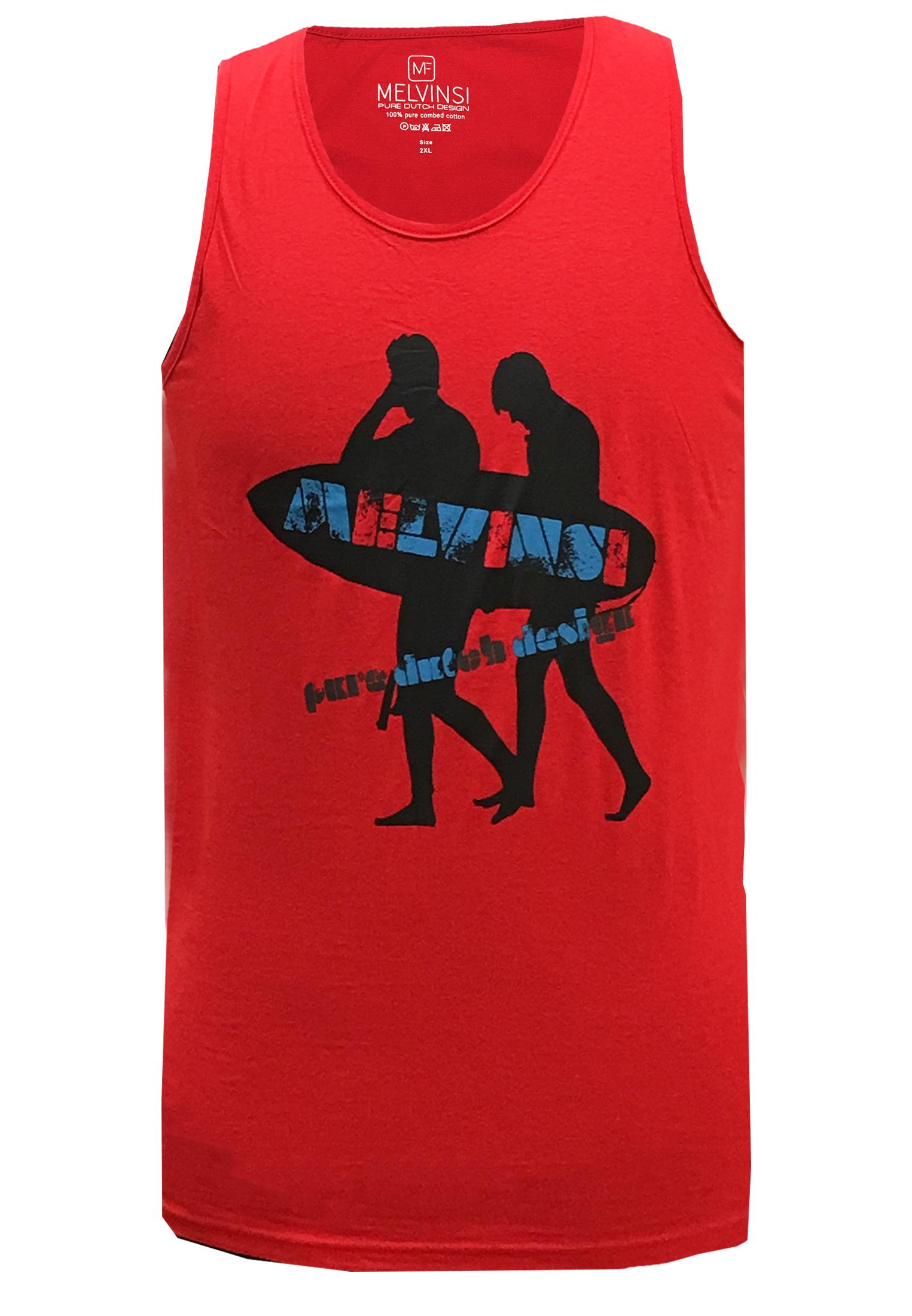 Rode tanktop van Melvinsi met leuke print en ronde hals. Zeer multifunctionele tanktop om te dragen, staat leuk op een spijkerbroek of op een joggingbroek als loungewear. Ideaal op de warme dagen of als het iets minder warm is onder een vest.