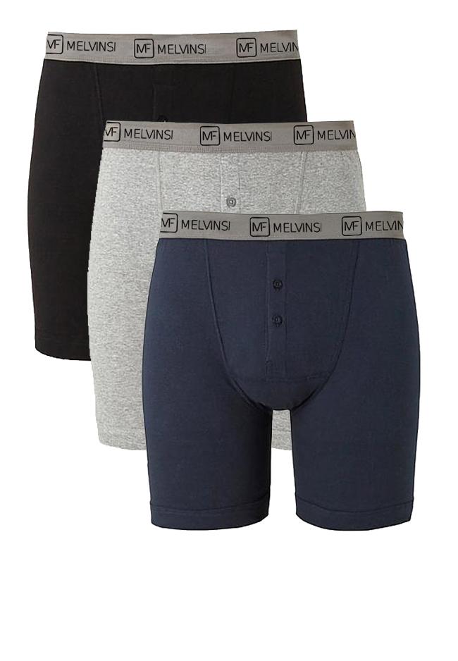 Melvinsi 3-pack Boxershort met gulp met knoopsluiting en brede elastische tailleband voor een optimale pasvorm. LET OP: Vanwege hygiëne kan dit product niet worden geruild of retour gezonden!