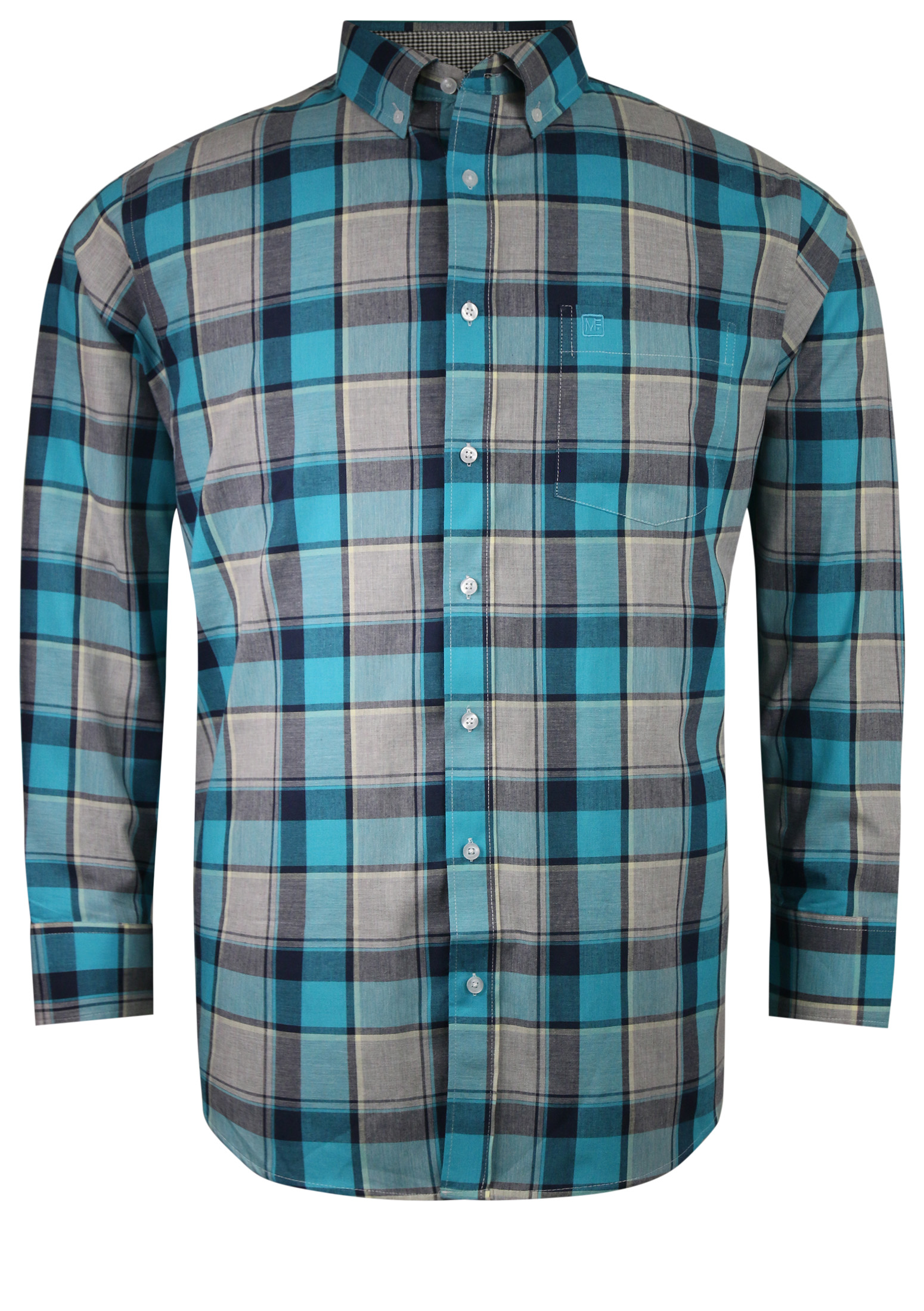 Overhemd met lange mouwen van Melvinsi met linker borstzakje, contrastkleur stof in de boorden en button down kraag. Groen en grijs geblokte stof.