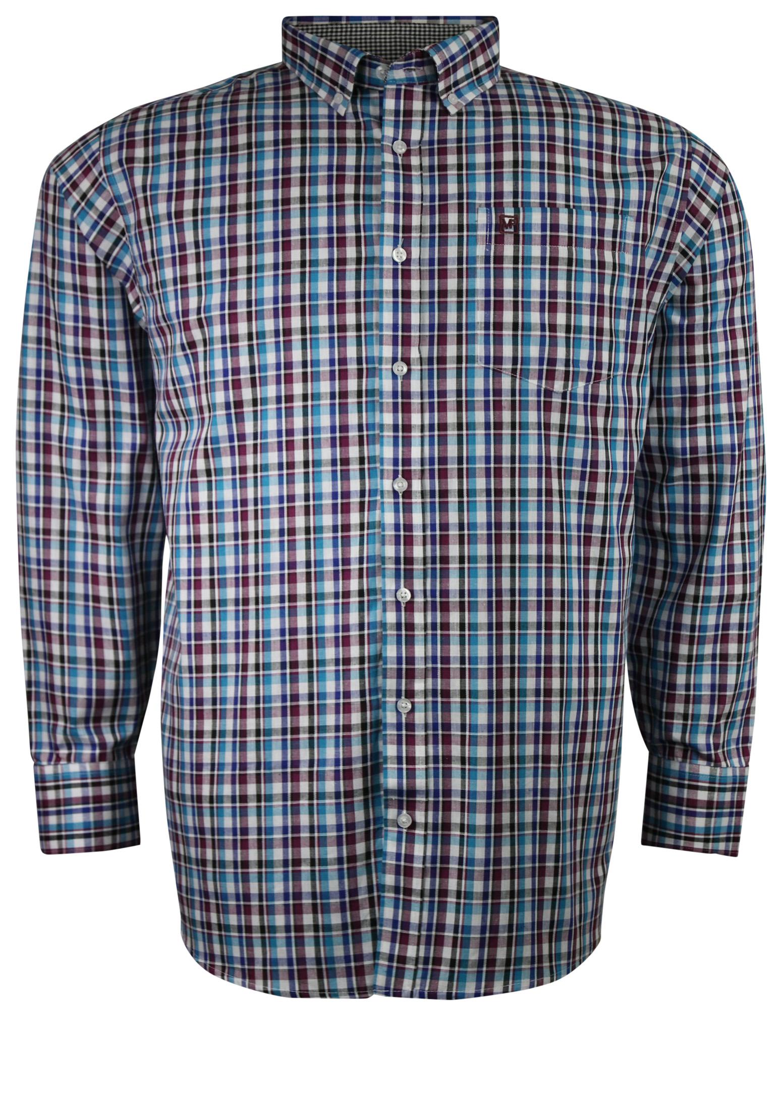 Overhemd met lange mouwen van Melvinsi met linker borstzakje, contrastkleur stof in de boorden en button down kraag.Blauwe en rode geblokte stof.