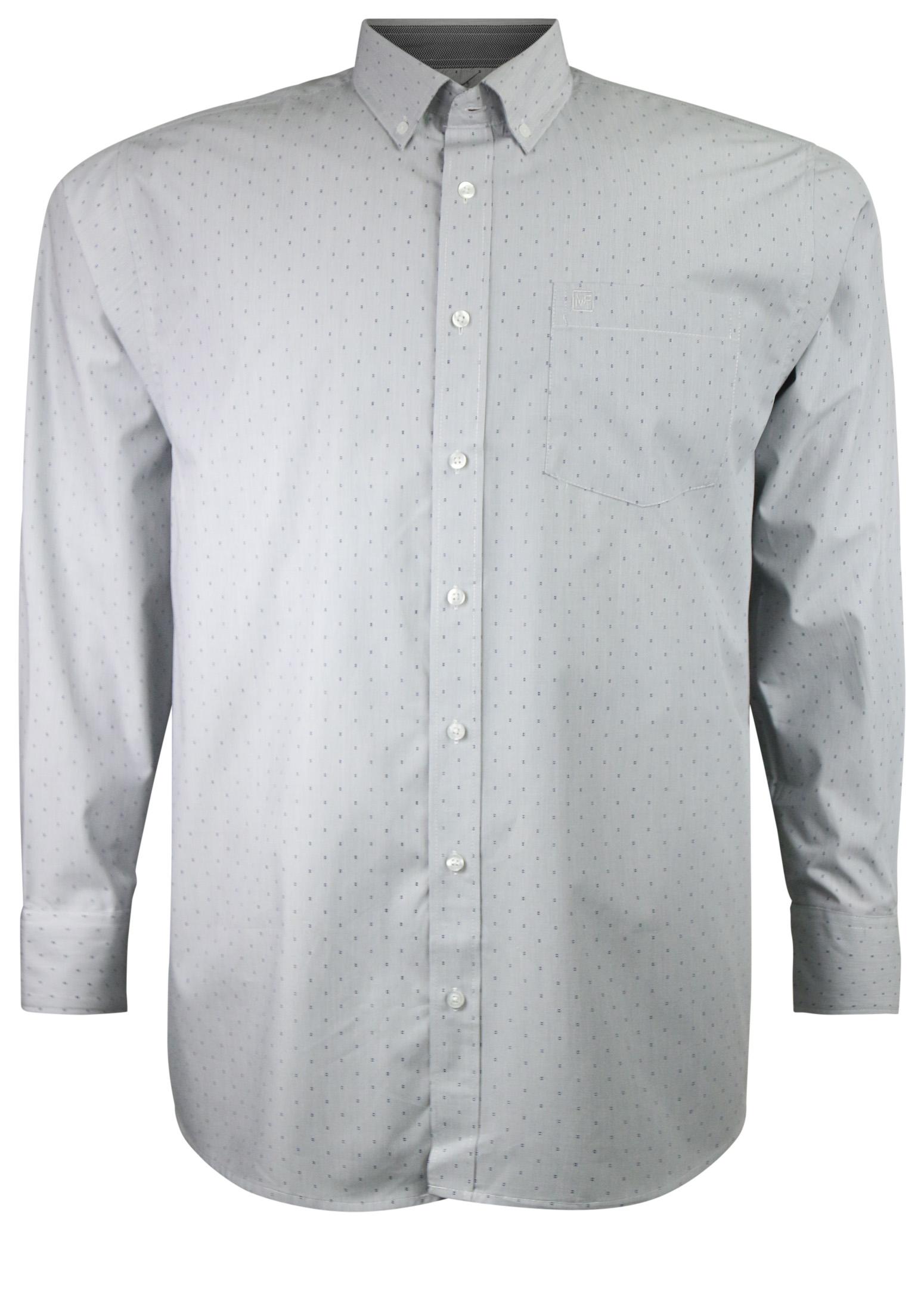 Overhemd met lange mouwen van Melvinsi met linker borstzakje, contrastkleur stof in de boorden en button down kraag.Fijne blauwe steep met klein blauw printjesmotief.