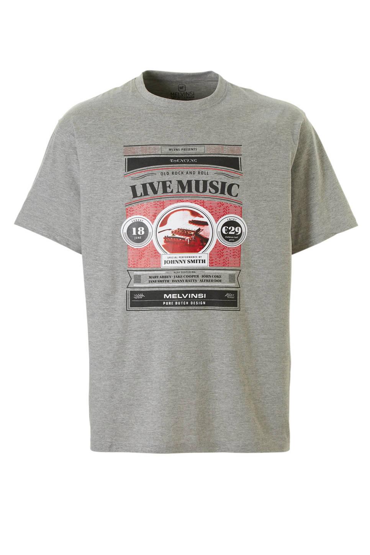 Grijs T-shirt van Melvinsi met mooie print en ronde hals. Gemaakt van zacht katoen voor optimaal draagcomfort.