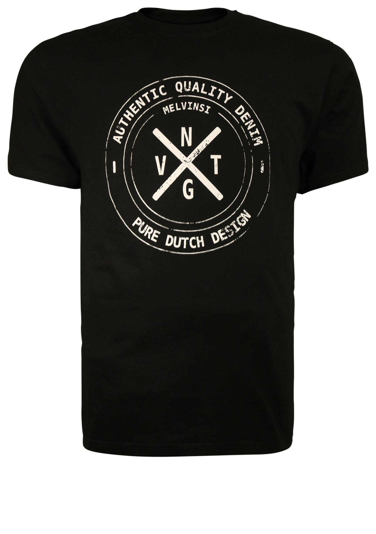 Zwart T-shirt van Melvinsi met mooie print en ronde hals. Gemaakt van zacht katoen voor optimaal draagcomfort.