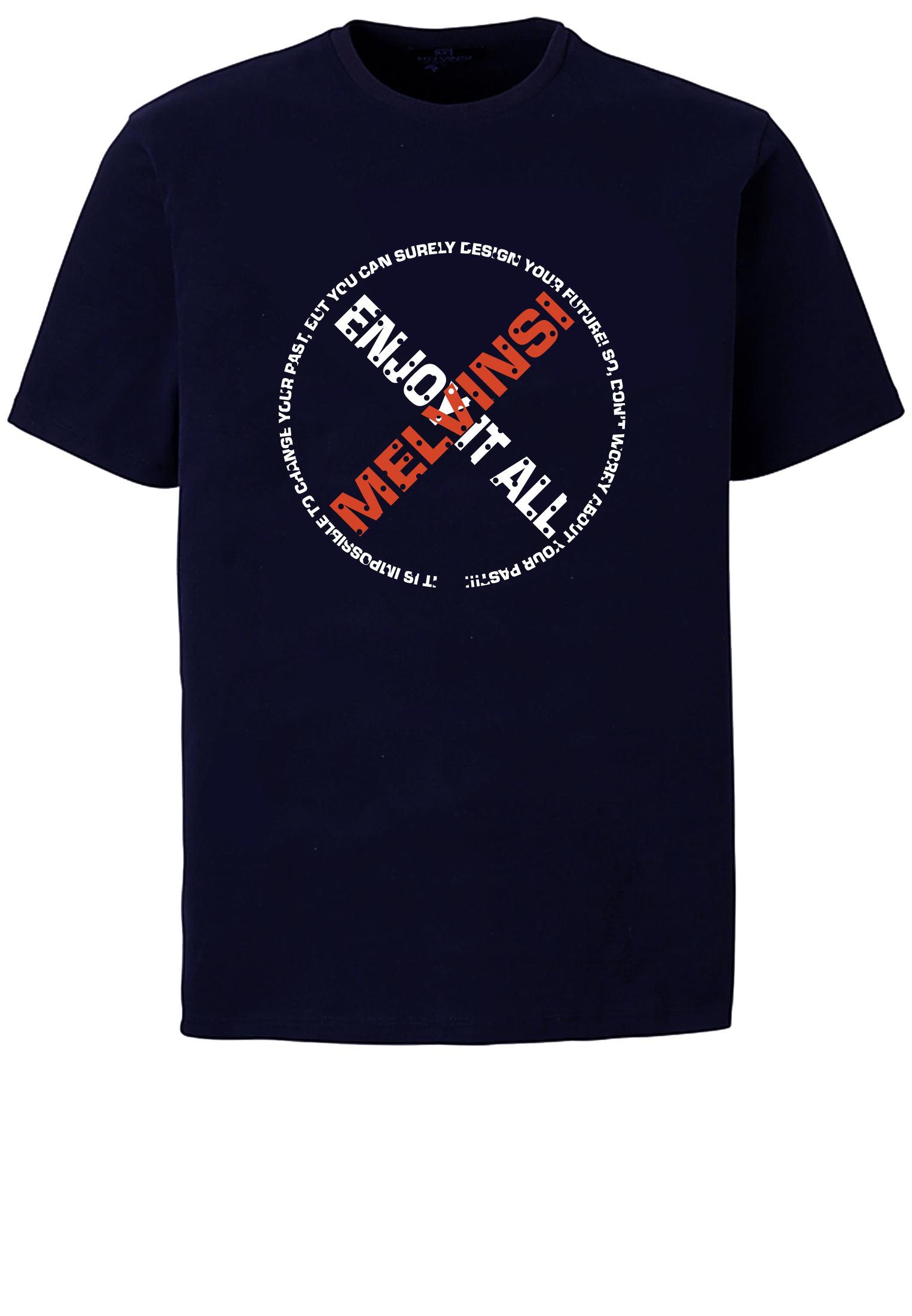 Blauw T-shirt van Melvinsi met mooie print en ronde hals. Gemaakt van zacht katoen voor optimaal draagcomfort.