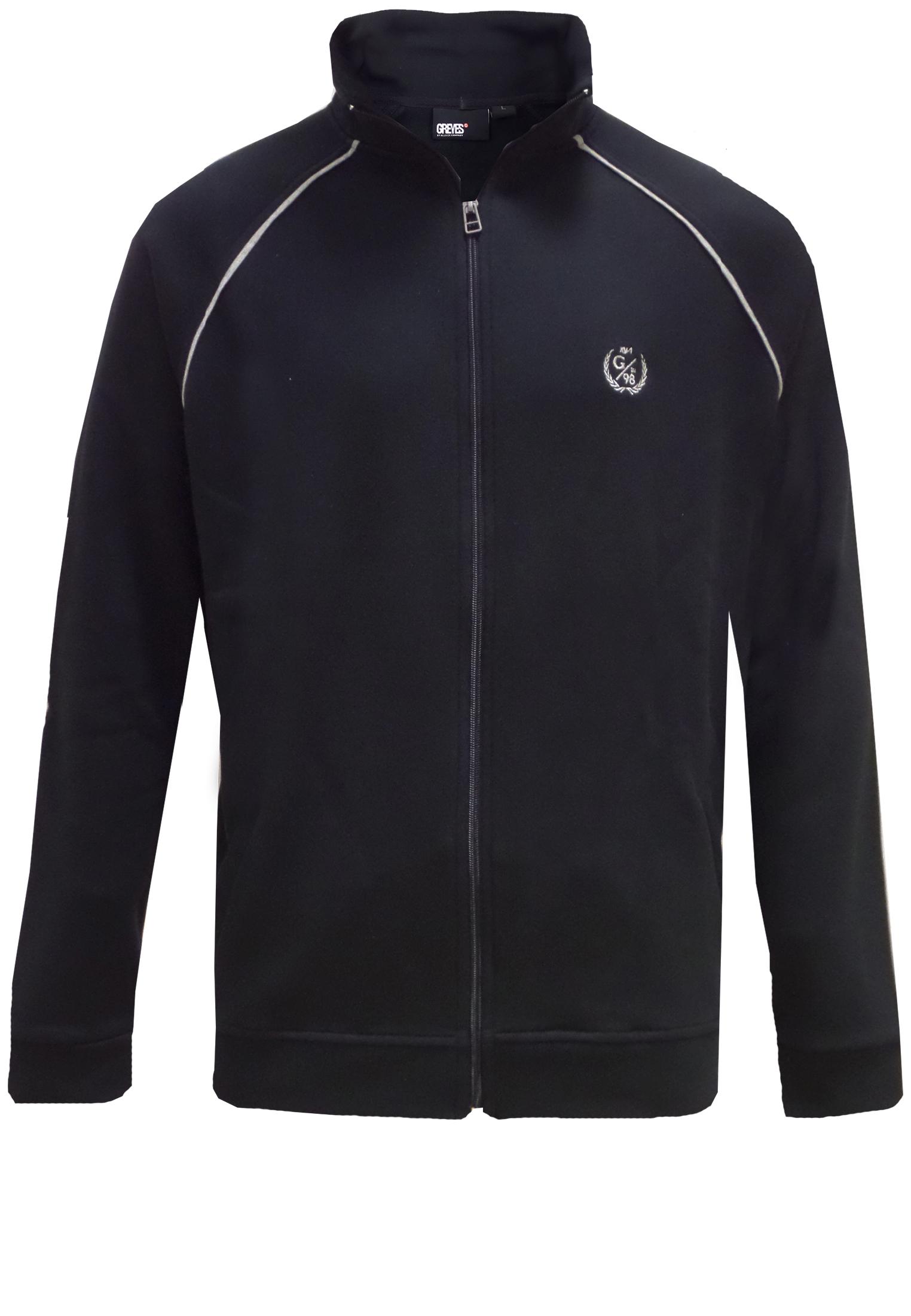 Zwart sweatvest van het merk Greyes met staande kraag, applicatie op de borst en doorlopende rits. Twee steekzakken aan de voorzijde.