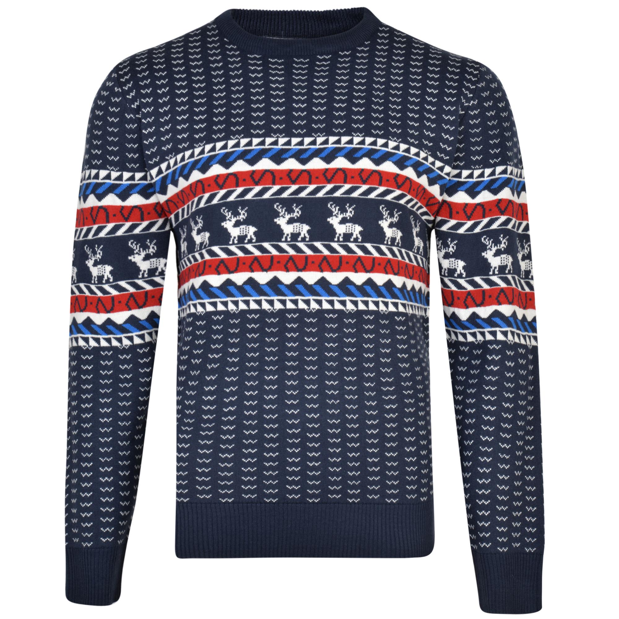 Kerst trui met rendier motief van merk KAM Jeanswear in de kleur navy, gemaakt van acryl.