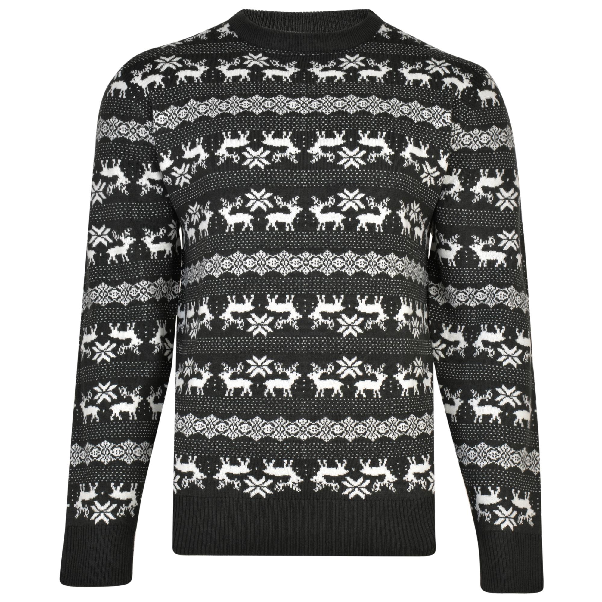 Kerst trui met rendiermotief van merk KAM Jeanswear in de kleur charcoal, gemaakt van acryl.