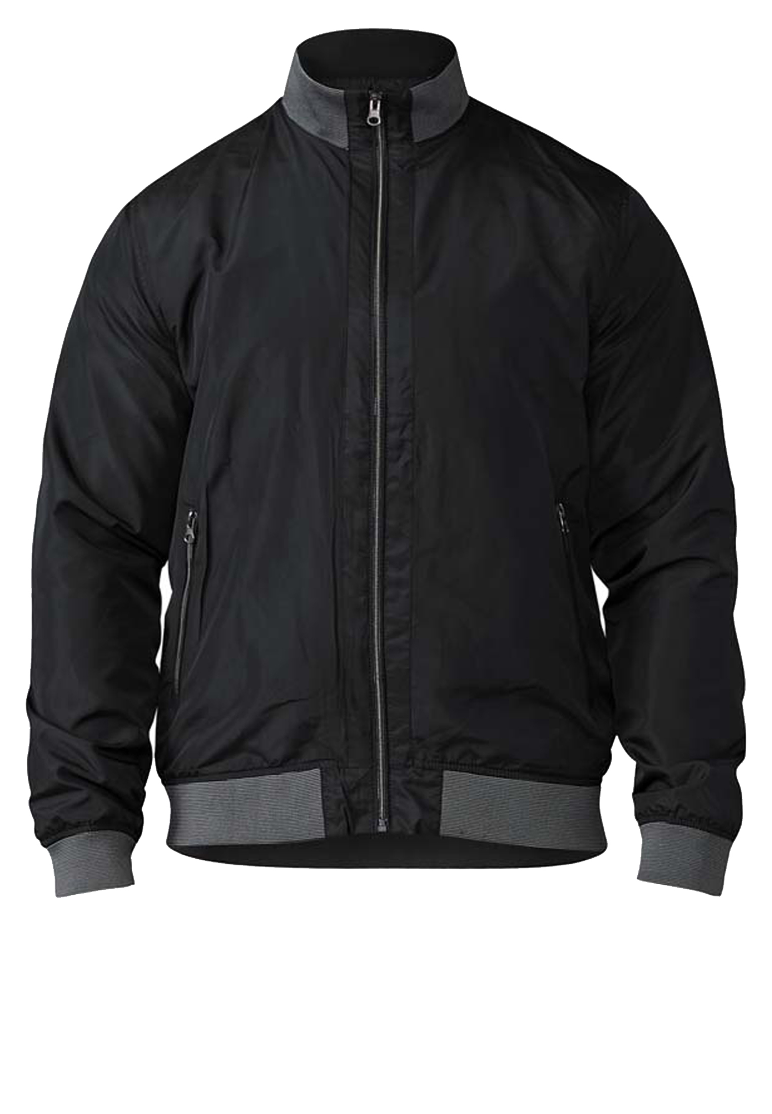 Mooie zomerjas van D555. Deze zwarte jas met eveneens zwarte voering heeft twee met rits afsluitbare zakken en een open binnenzak. De jas heeft een zwarte-grijs elastische boord aan de kraag, zoom en mouwboorden.