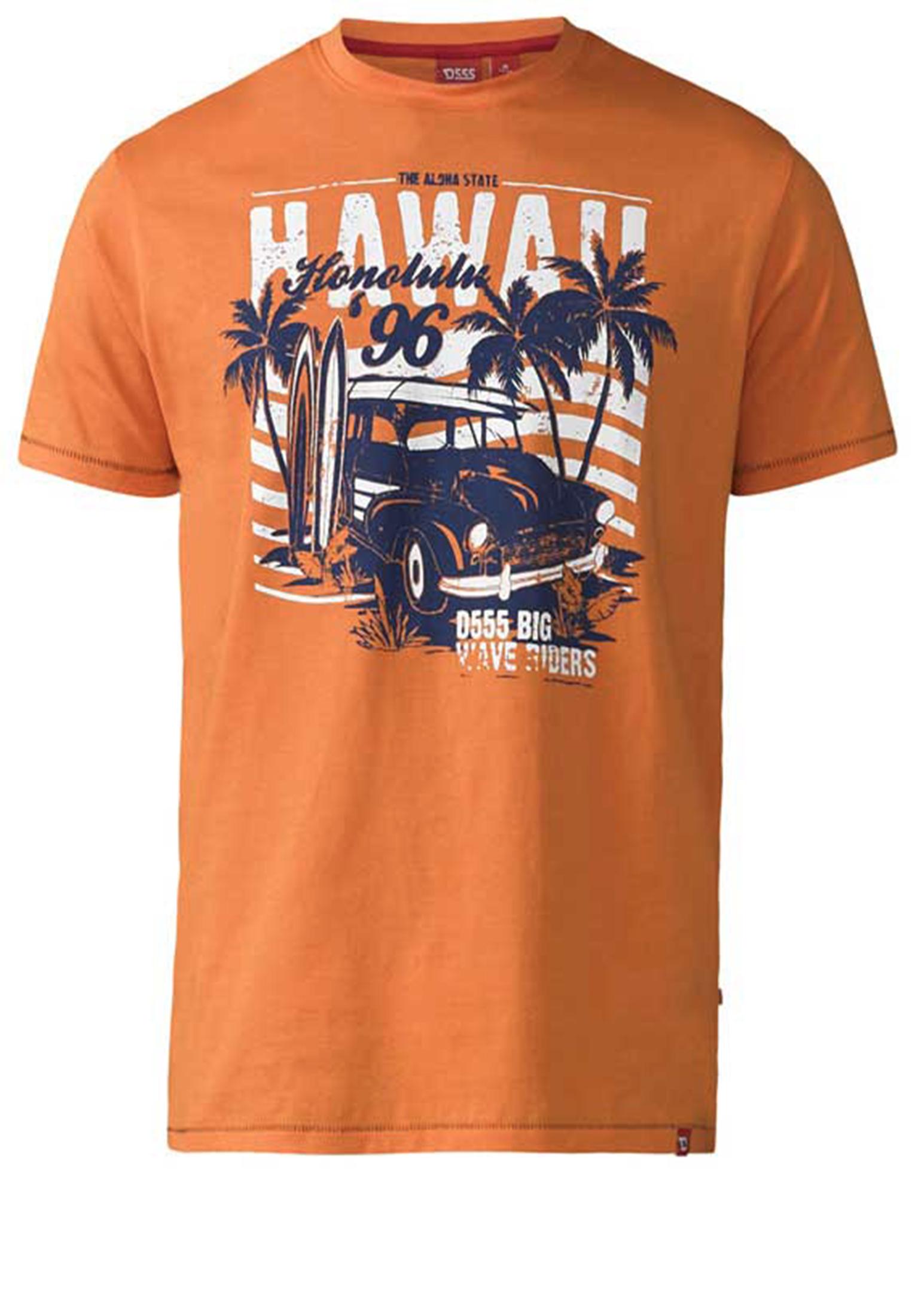 Een erg leuk, zomers oranje t-shirt van D555 met een wit-zwarte print en ronde hals. Dit shirt is ideaal te combineren met diverse soorten jeans en shorts. Perfect voor het voorjaar- en zomerseizoen.