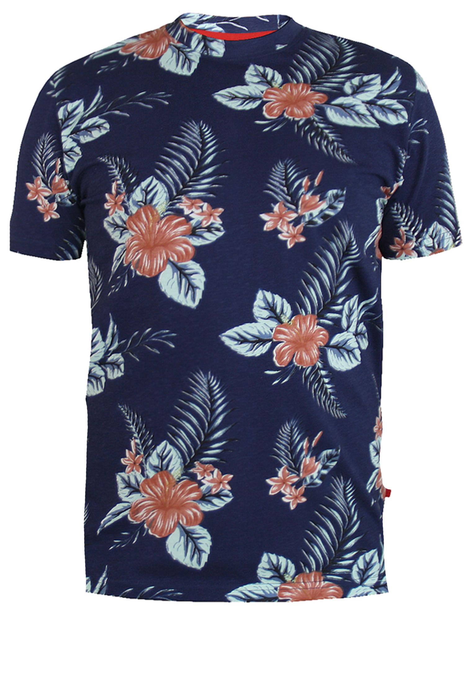 Trendy, zomers t-shirt van D555 in een donkerblauwe uitvoering met een allover print. Dit shirt is ideaal te combineren met diverse soorten jeans en shorts. Perfect voor het voorjaar- en zomerseizoen.