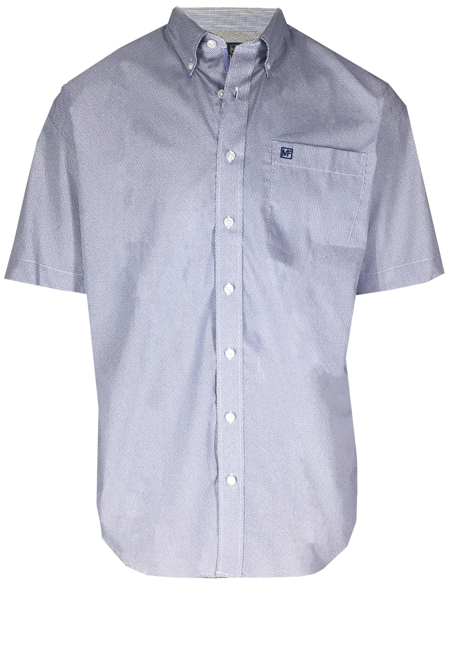 Overhemd met korte mouwen van Melvinsi uitgevoerd in een regular fit model. De stof heeft een hele fijne blauw witte print met button kraag en witte knopen. Op de linker borst zit een open borstzakje met logo. Het overhemd is rond afgezoomd. Mooi zomers overhemd die u kunt dragen op de warme lente en zomerdagen of leuk onder een trui of vest.